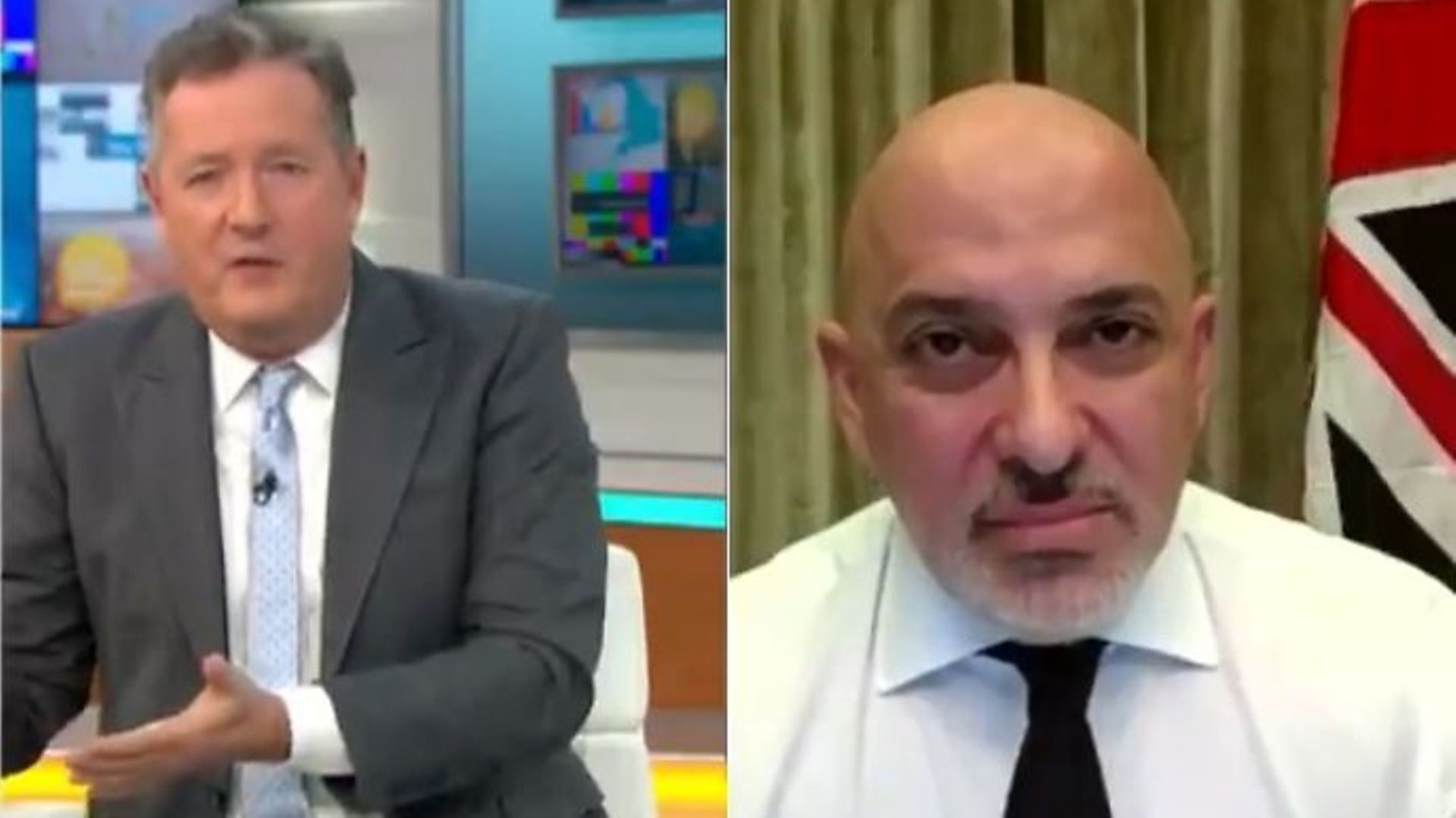 Nadhim Zahawi is challenged by Piers Morgan on Good Morning Britain - Credit: ITV