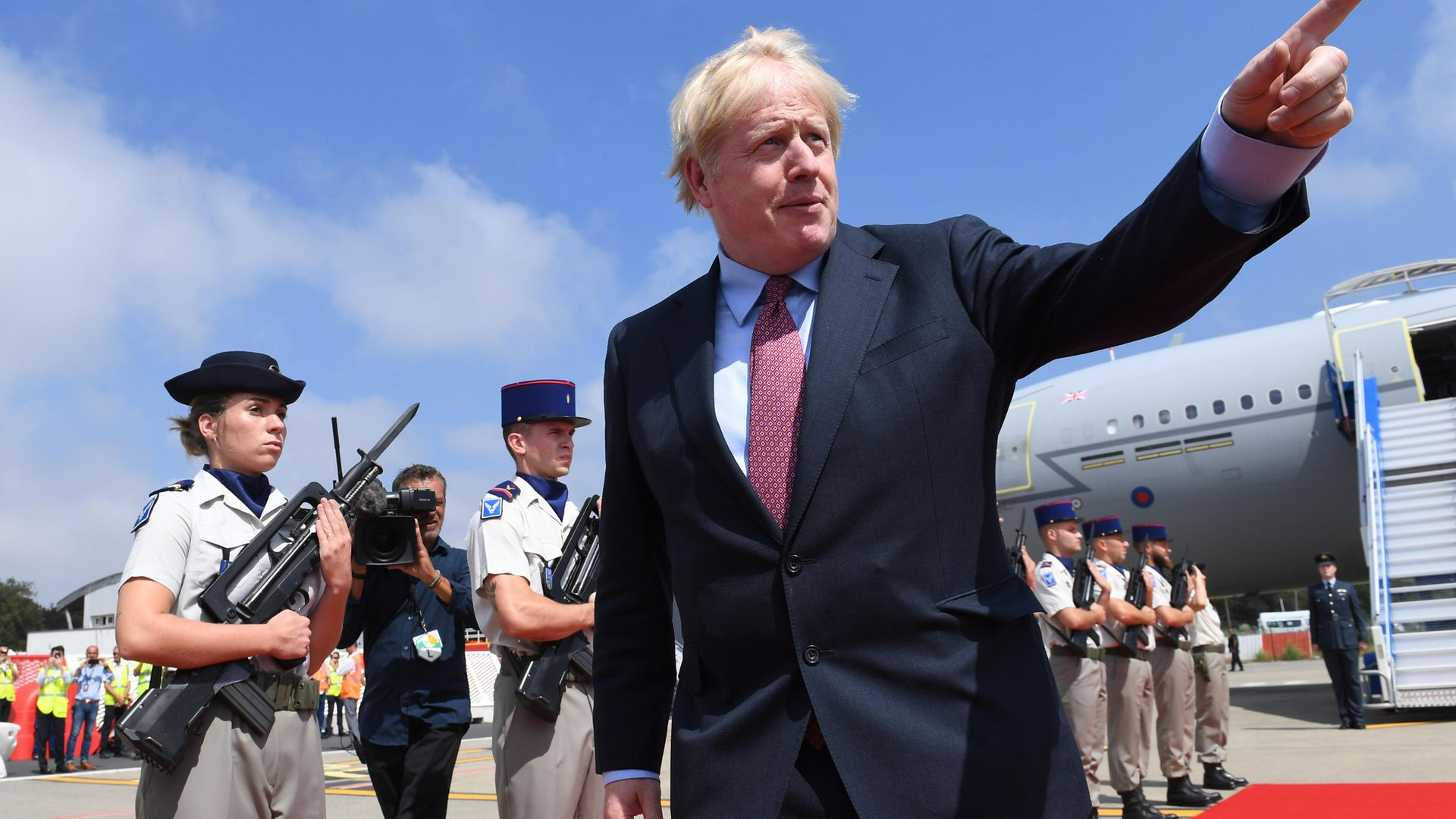 Prime minister Boris Johnson arriving in Biarritz, France, for the annual G7 summit - Credit: PA