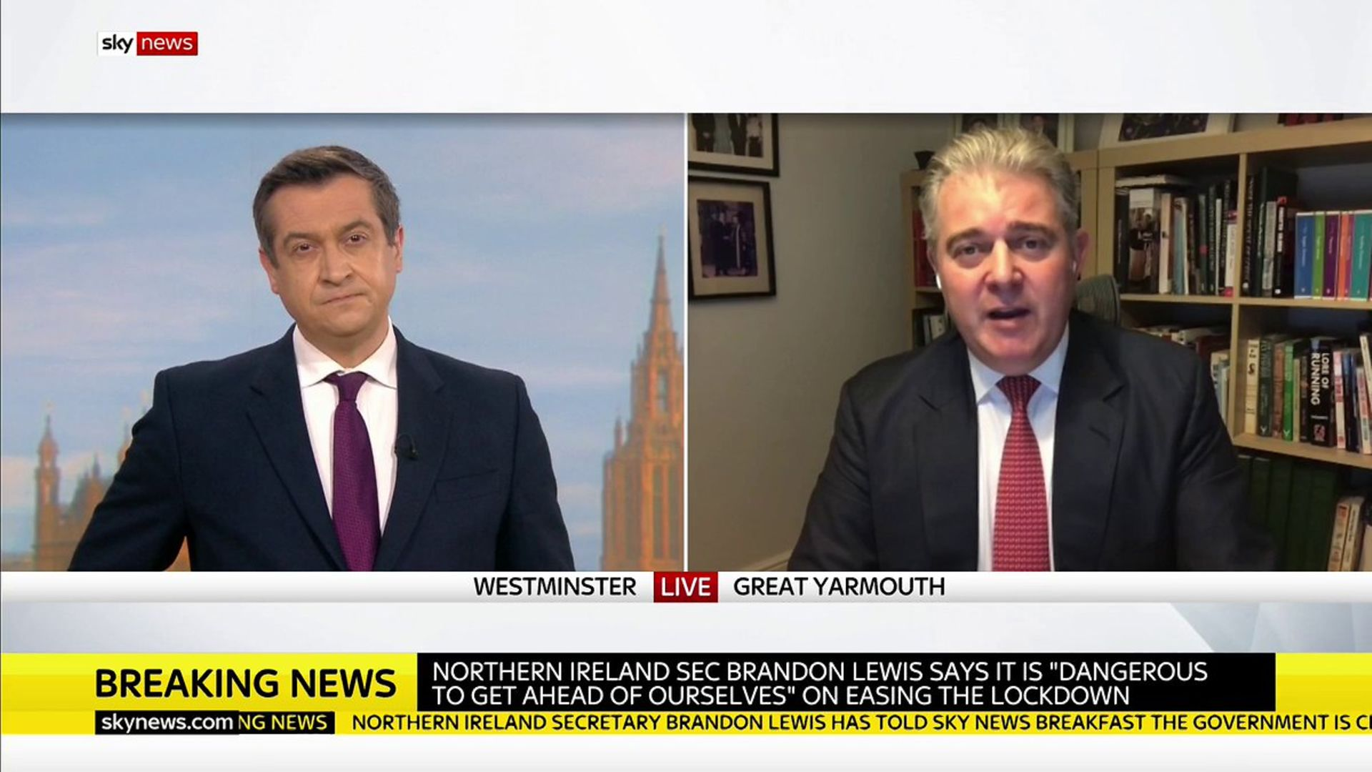 Brandon Lewis is interviewed by Niall Patterson - Credit: Sky News