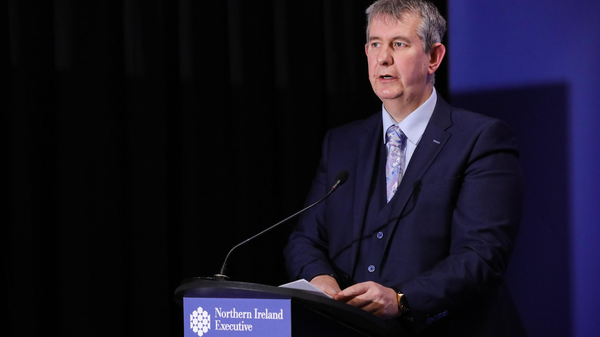 Edwin Poots, Minister of Agriculture, Environment and Rural Affairs during the daily media broadcast in the Long Gallery at Parliament Buildings, Stormont - Credit: PA