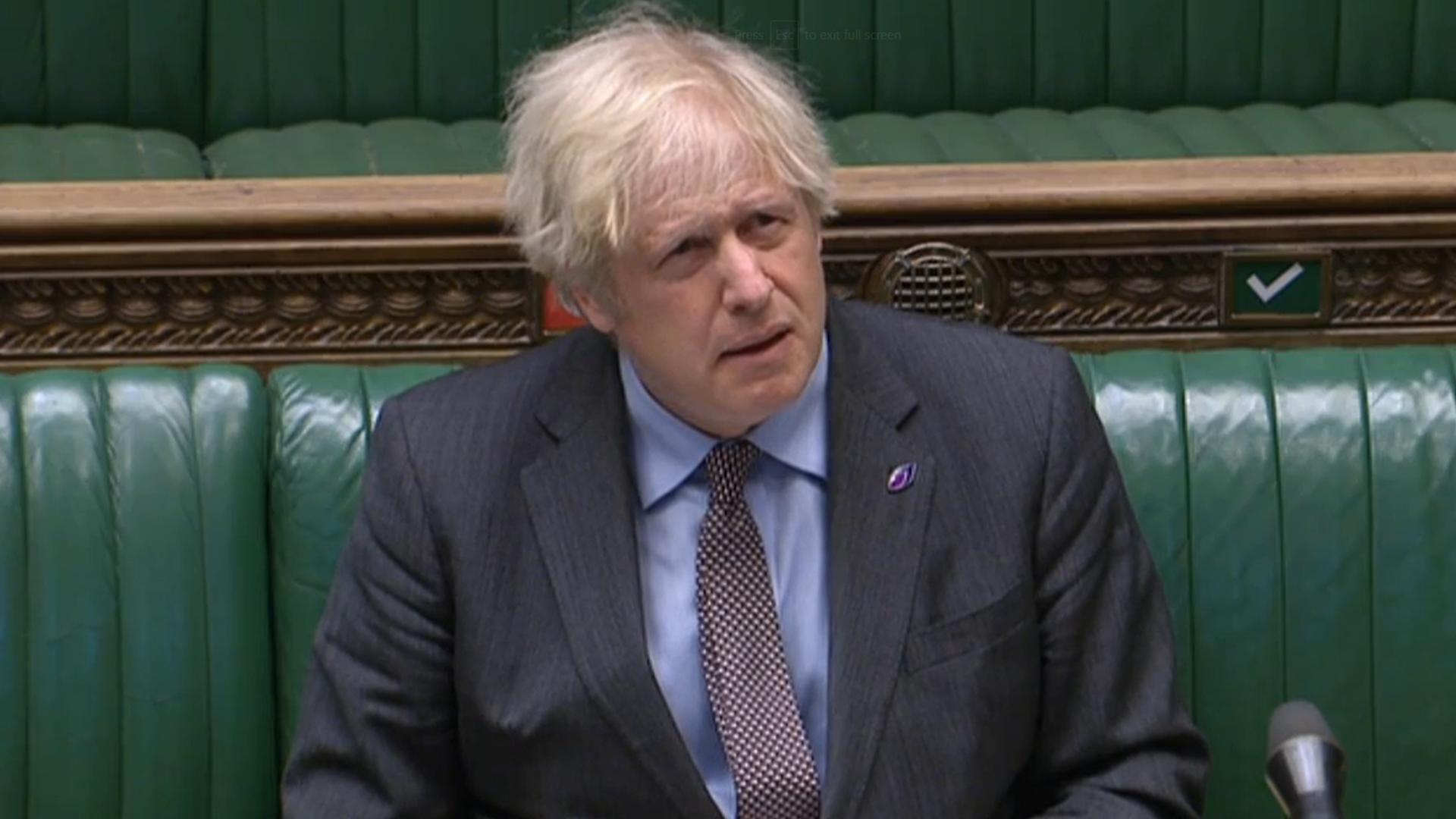 Boris Johnson at PMQs - Credit: Parliament Live