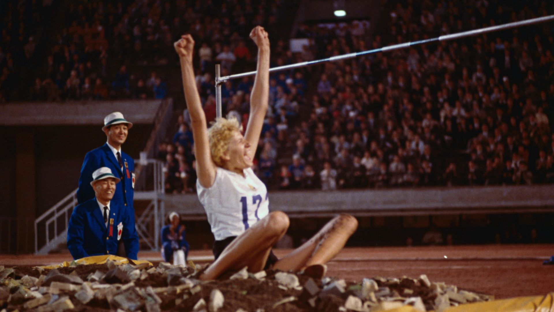 Iolanda Balas after jumping 1.90m to set a a new Olympic record at the 1964 Summer Olympics in Tokyo - Credit: Bettmann Archive