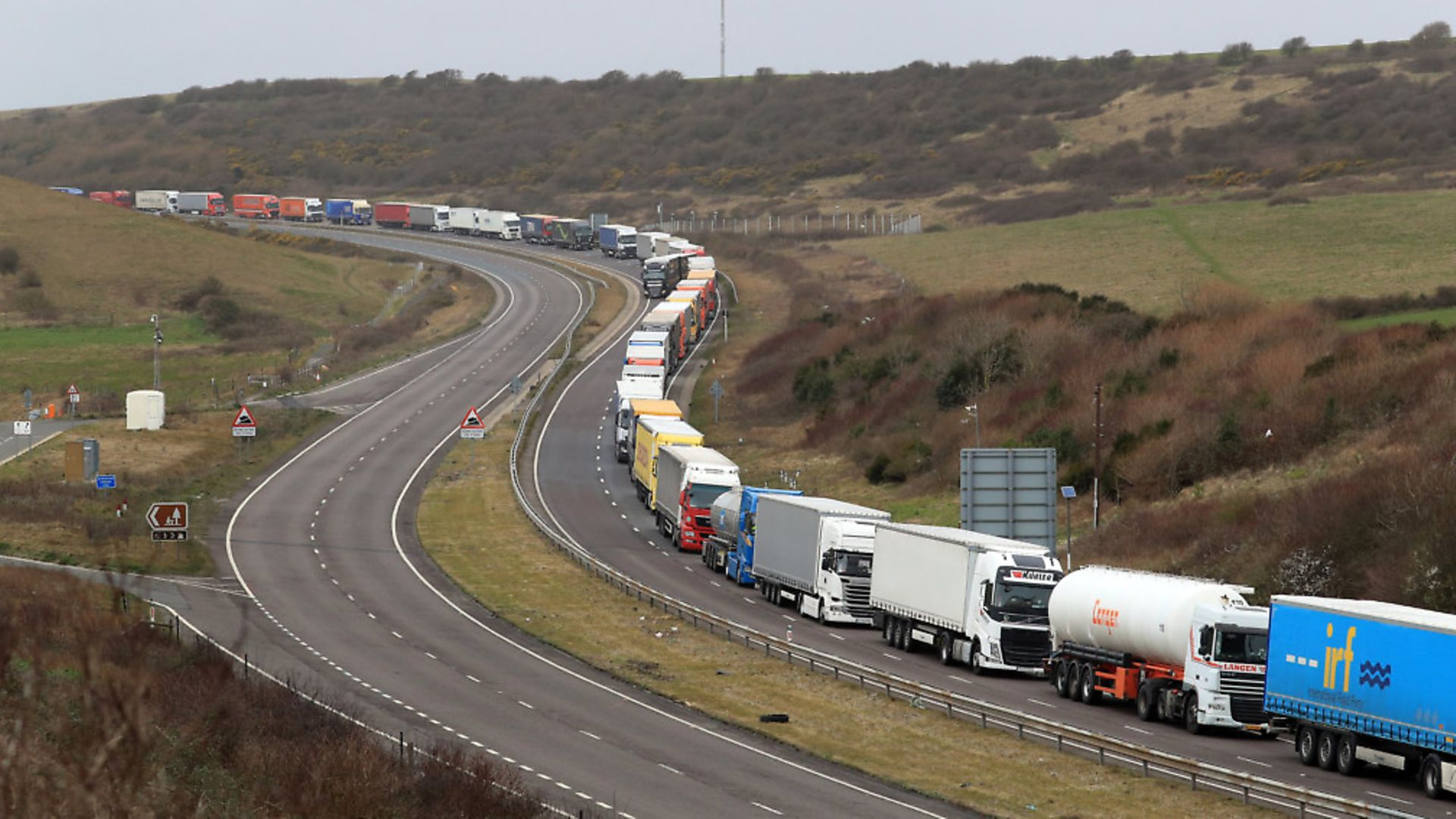 Lorries at the entrance to the Port of Dover in Kent. Photograph: Gareth Fuller/PA. - Credit: PA