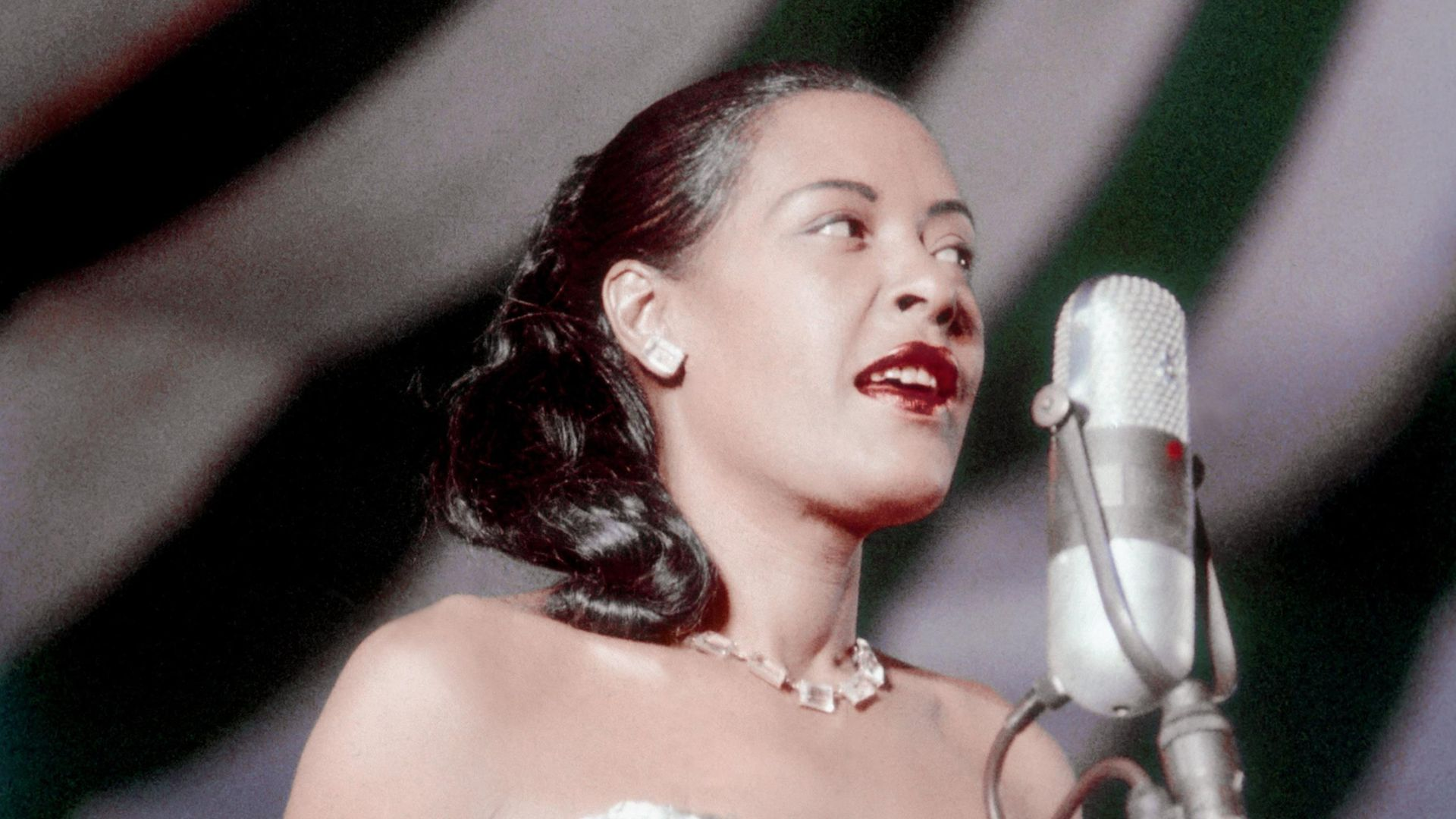Billie Holiday performs at the Newport Jazz festival in Newport, Rhode Island - Credit: Photo by Bill Spilka/Getty Images