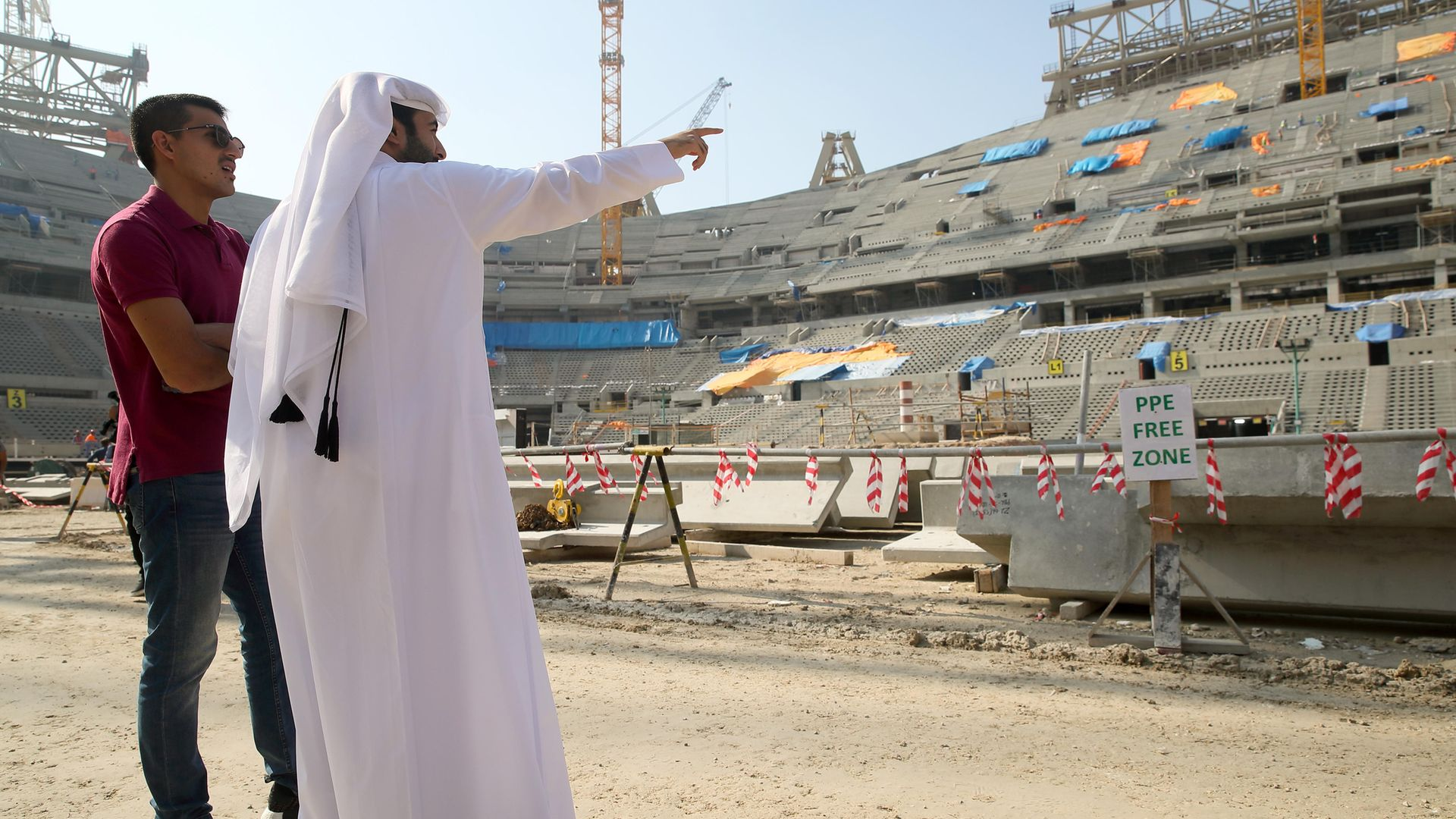 A general interior view of the construction of the Lusail Iconic Stadium in Doha, a venue for the FIFA Qatar World Cup 2022, on December 21, 2019 - Credit: Photo by Matthew Ashton - AMA/Getty Images