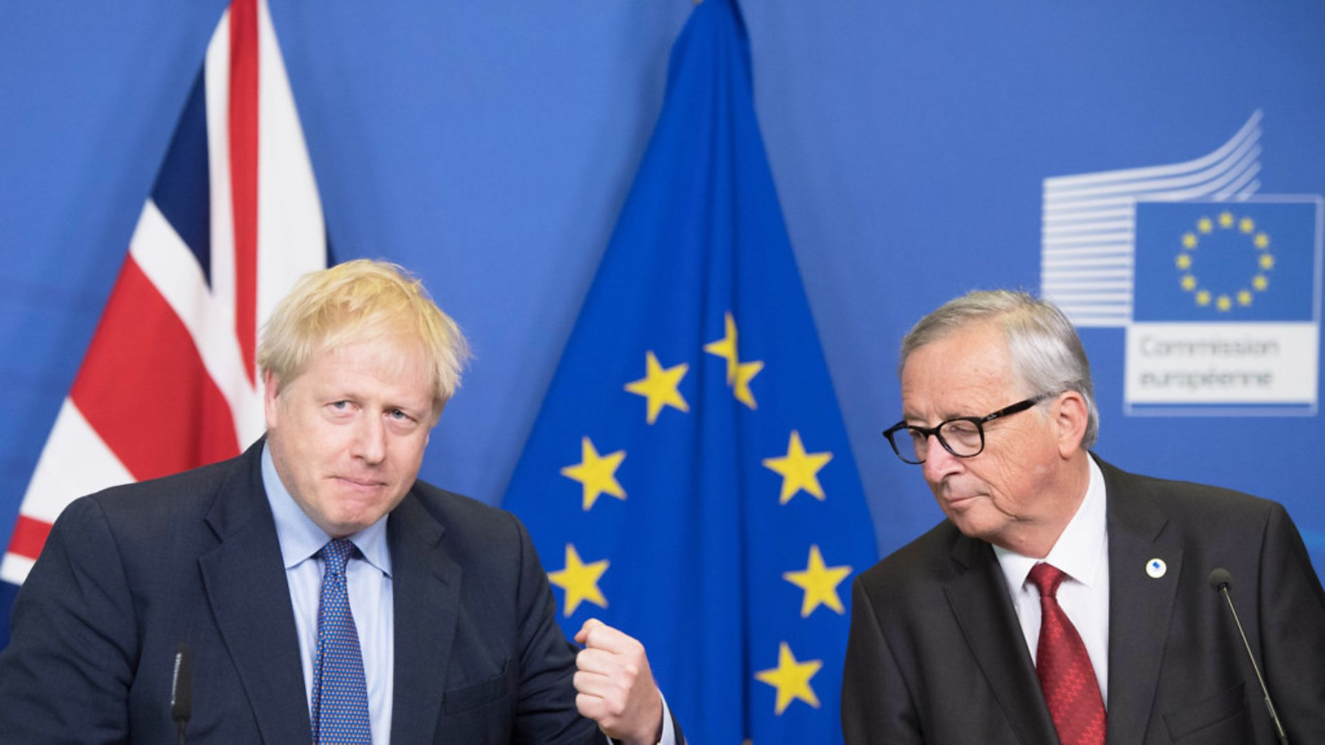 UK Prime Minister Boris Johnson and Jean-Claude Juncker - Credit: PA Wire/PA Images