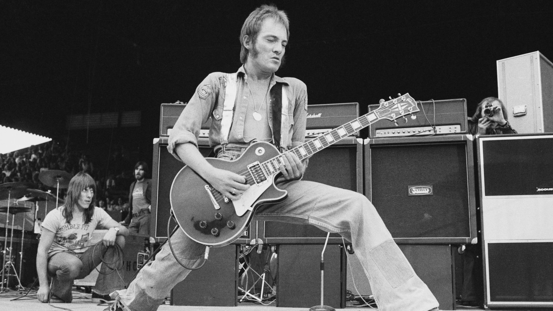 Steve Marriott, with Humble Pie, at the Summer of '74 festival, held at Charlton Athletic's football ground, the Valley - Credit: Getty Images