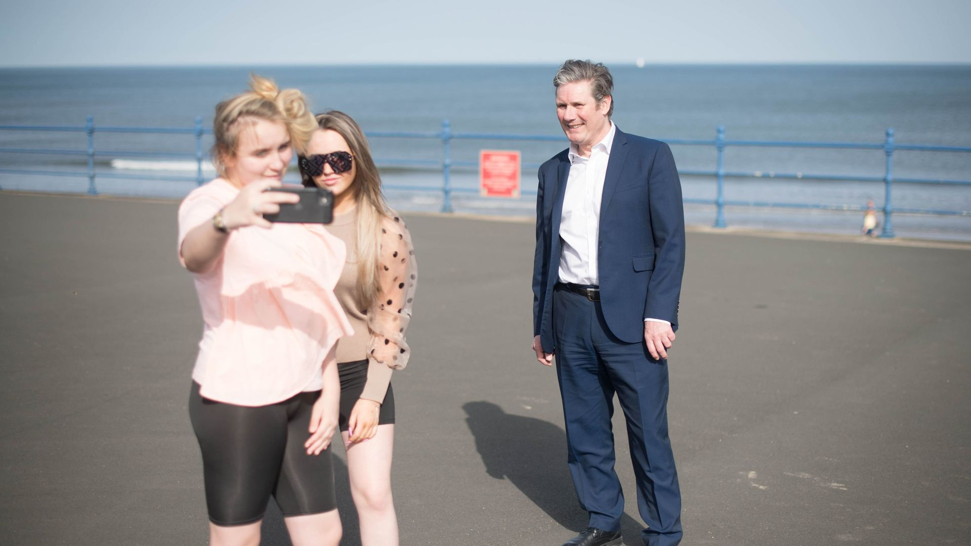 Labour Party leader Sir Keir Starmer meets locals during campaigning for the Hartlepool by-election - Credit: Getty Images