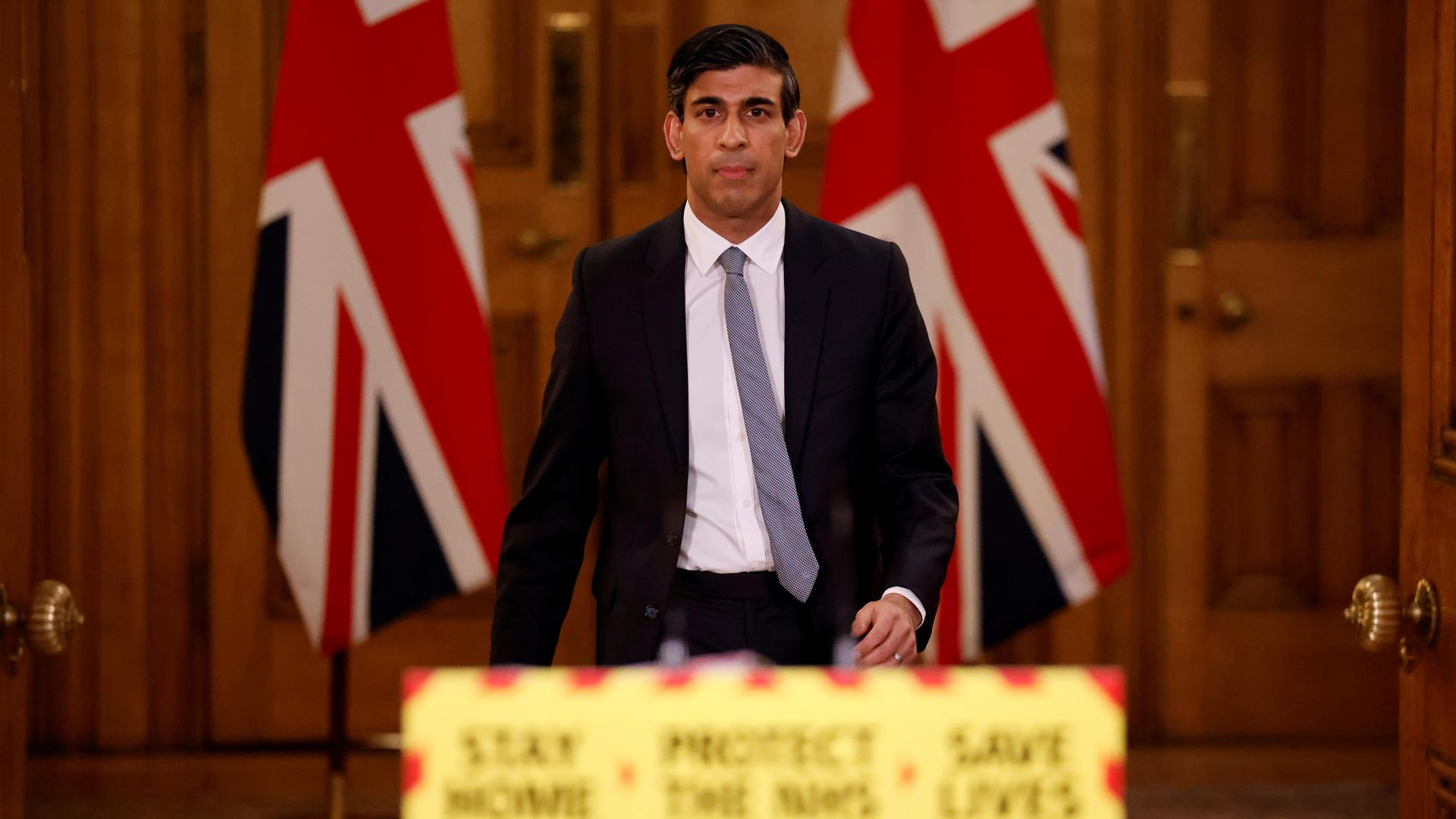Rishi Sunak during a press conference in 10 Downing Street - Credit: PA
