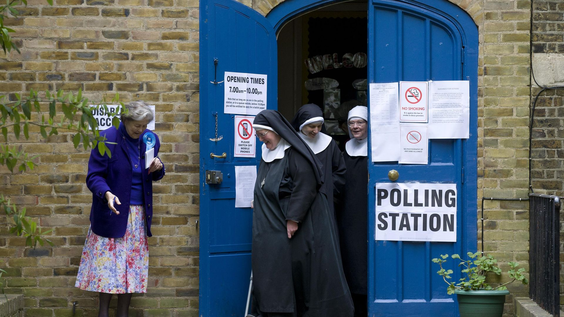 Nuns leave a polling station after voting in London at the 2015 election - Credit: AFP via Getty Images
