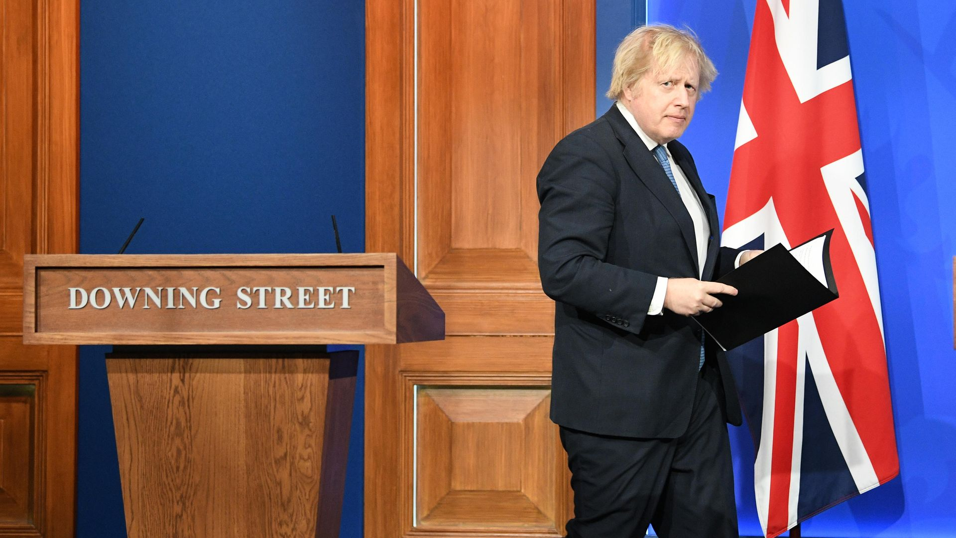 Prime Minister Boris Johnson, arrives for a media briefing in Downing Street, London, on coronavirus (Covid-19). Picture date: Monday April 5, 2021. - Credit: PA