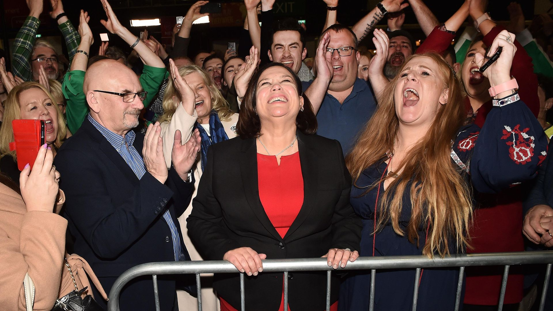 Sinn Fein leader Mary Lou McDonald celebrates with her supporters after being elected in 2020 - Credit: Getty Images