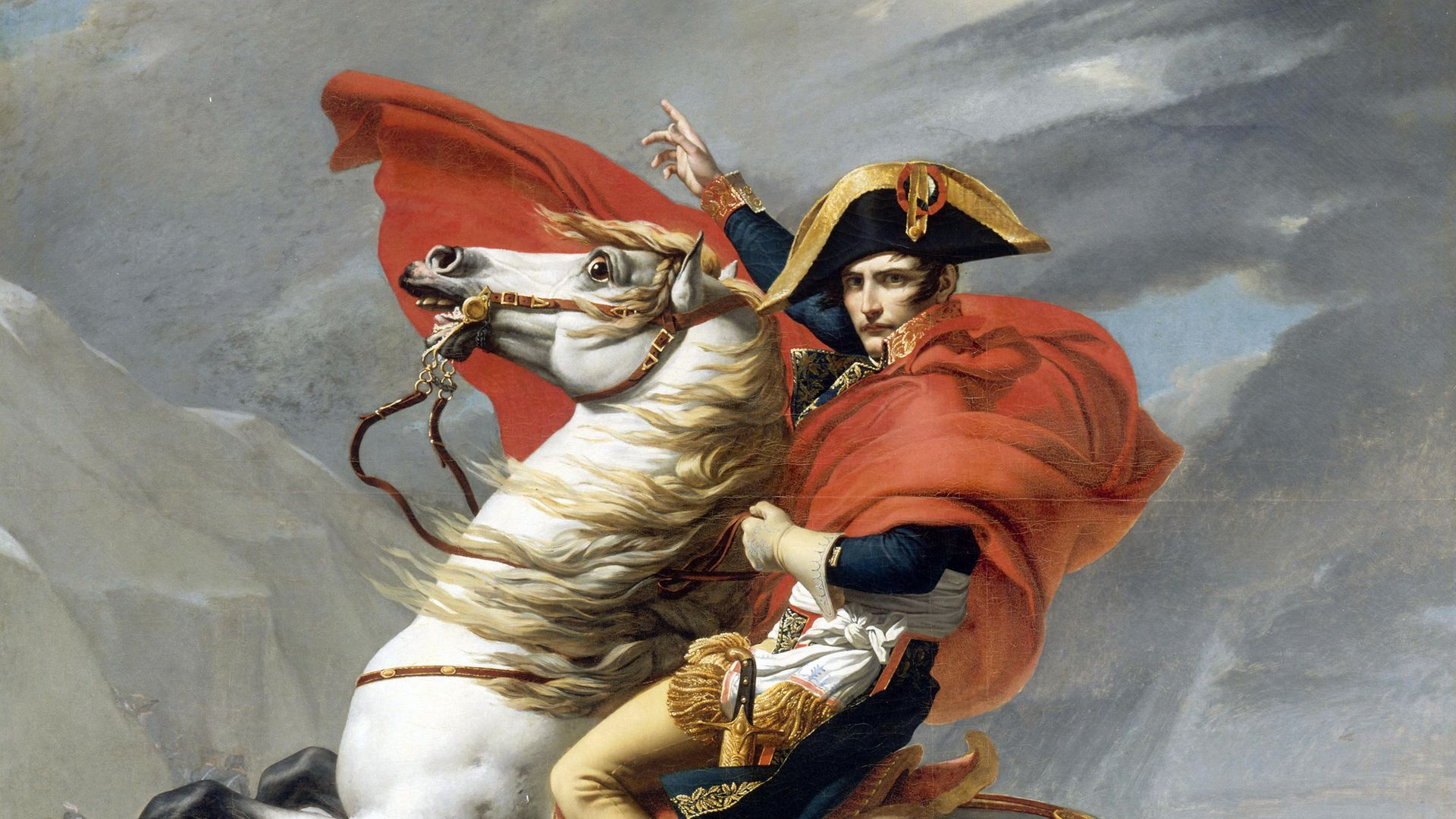 A painting of Napoleon crossing the Saint Bernard pass - Credit: Corbis via Getty Images