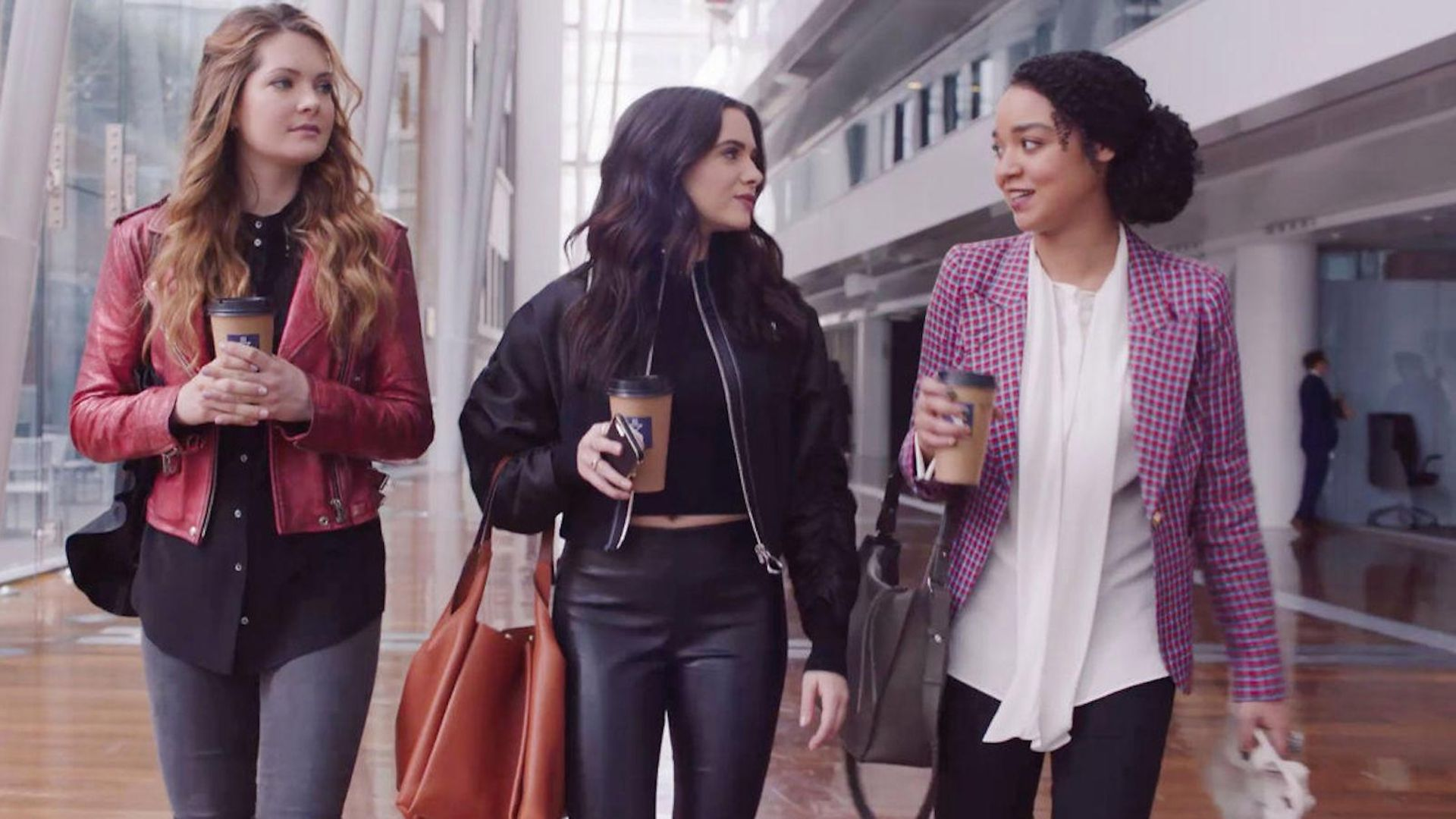 Meghann Fahy, Katie Stevens and Aisha Dee in The Bold Type - Credit: Freeform