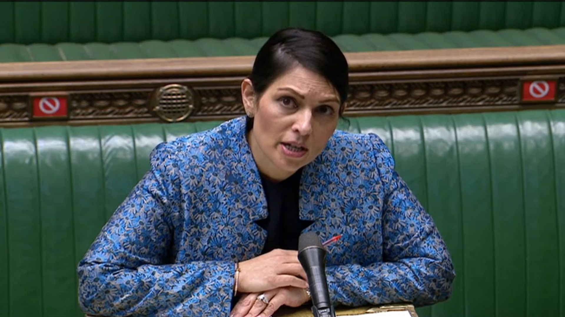 Home secretary Priti Patel speaking in the House of Commons - Credit: PA