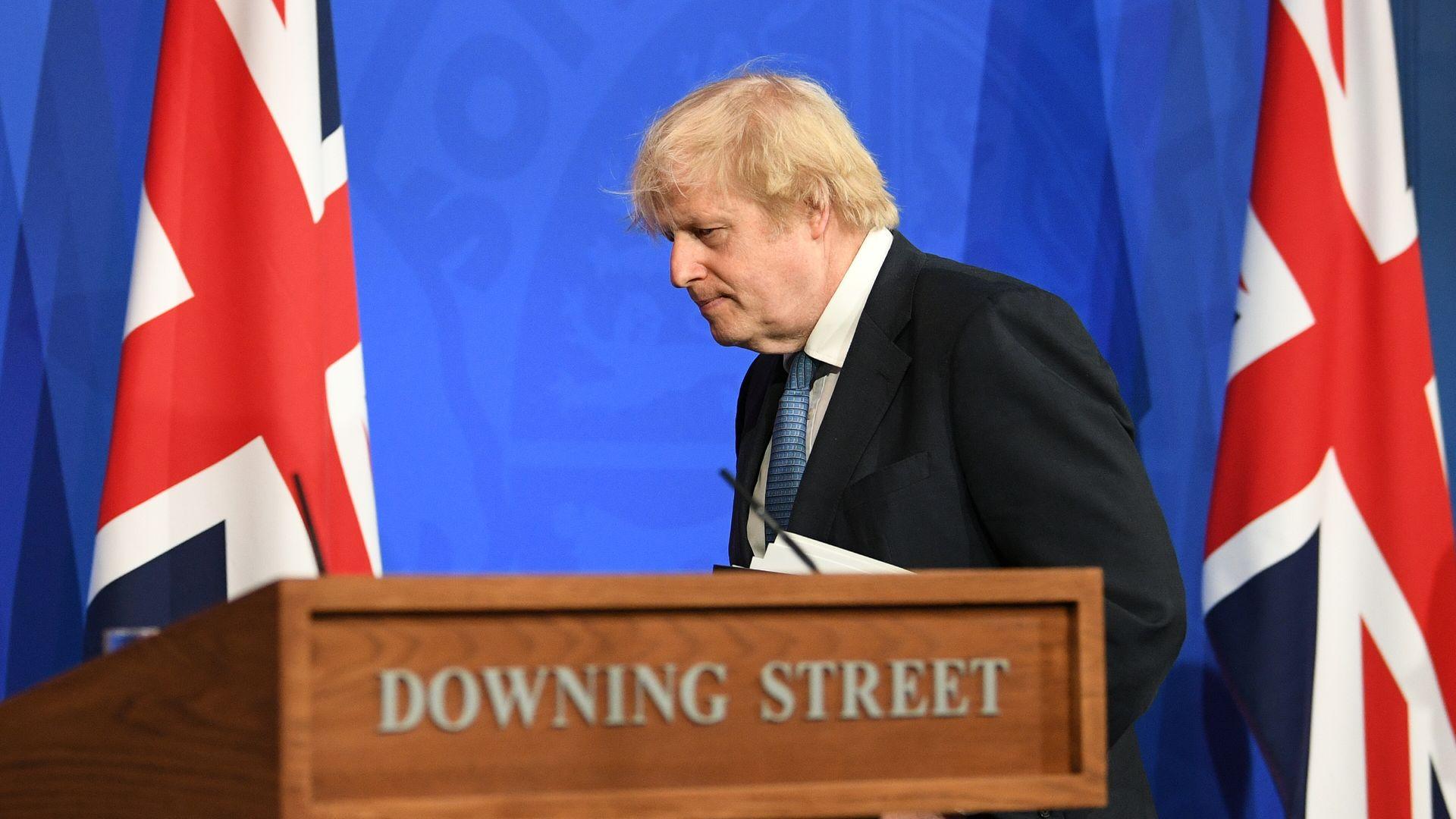 Prime minister Boris Johnson at a Downing Street briefing - Credit: PA
