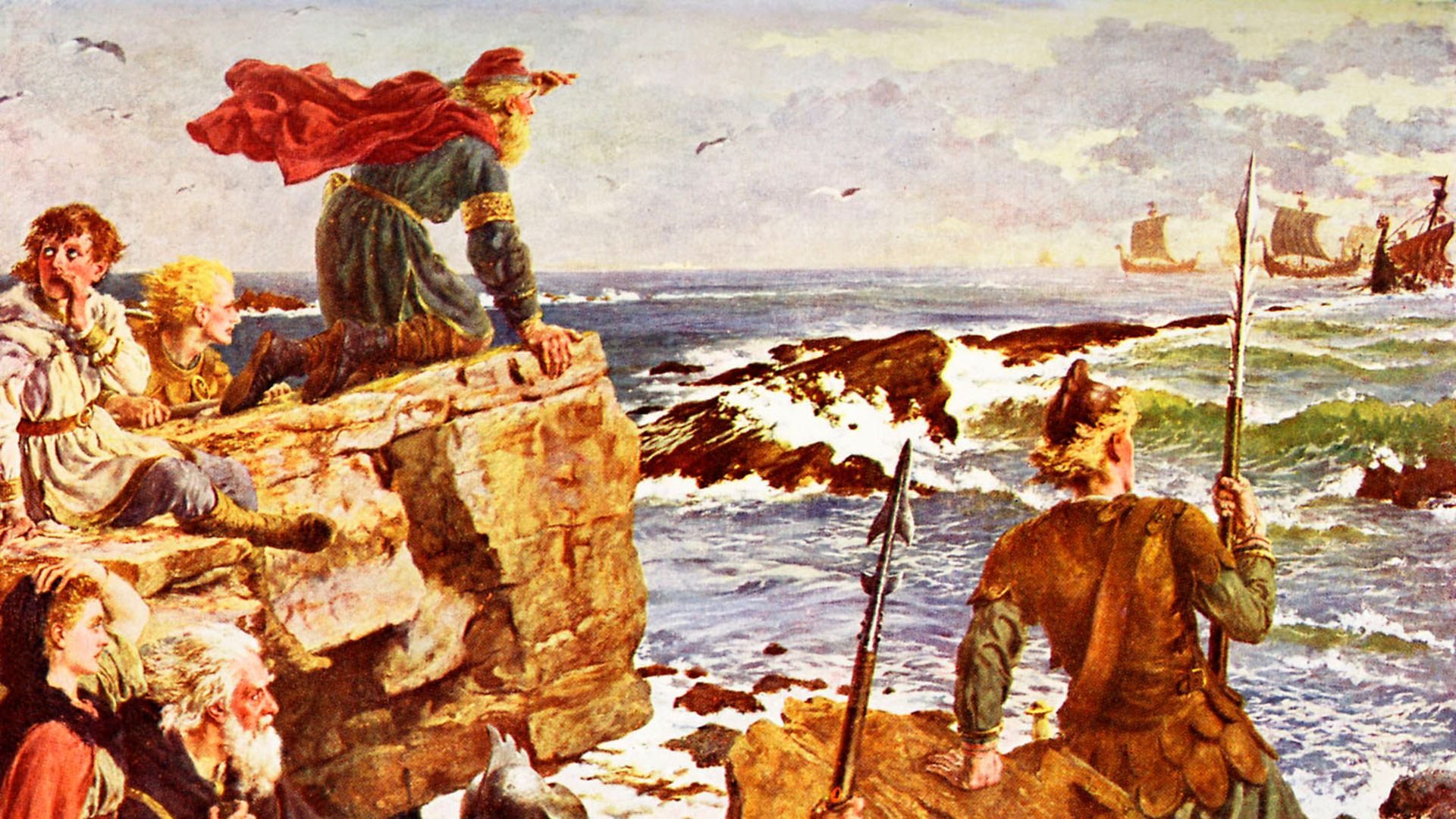 Vikings ahoy. Invading ships are spotted approaching the English coast. From a painting by Herbert A. Bone (late 19th/early 20th century) - Credit: Getty Images
