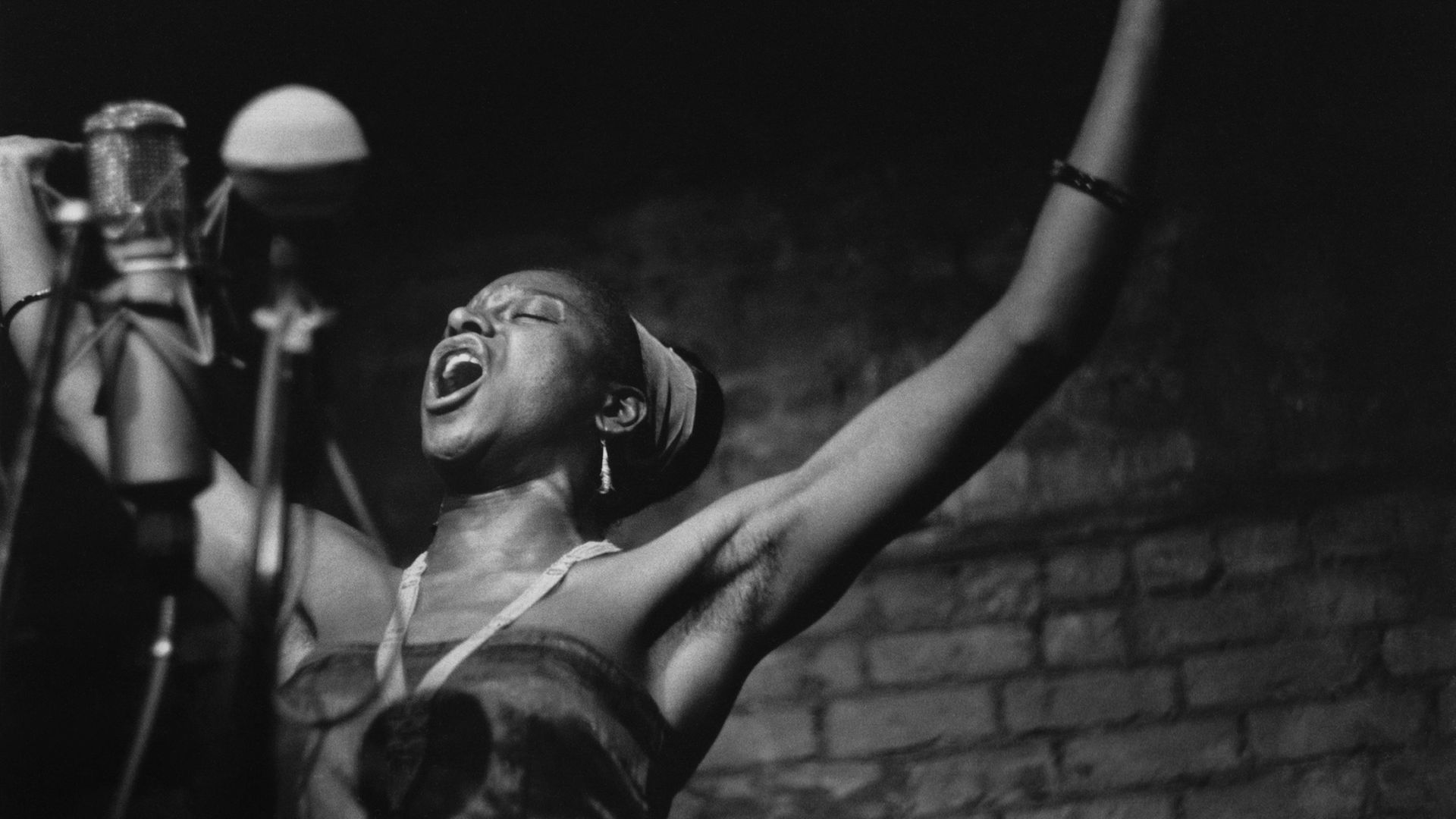 South African singer Miriam Makeba - known as Mama Africa - pictured at the Bitter End folk club in Greenwich Village, New York, in 1961 - Credit: Getty Images