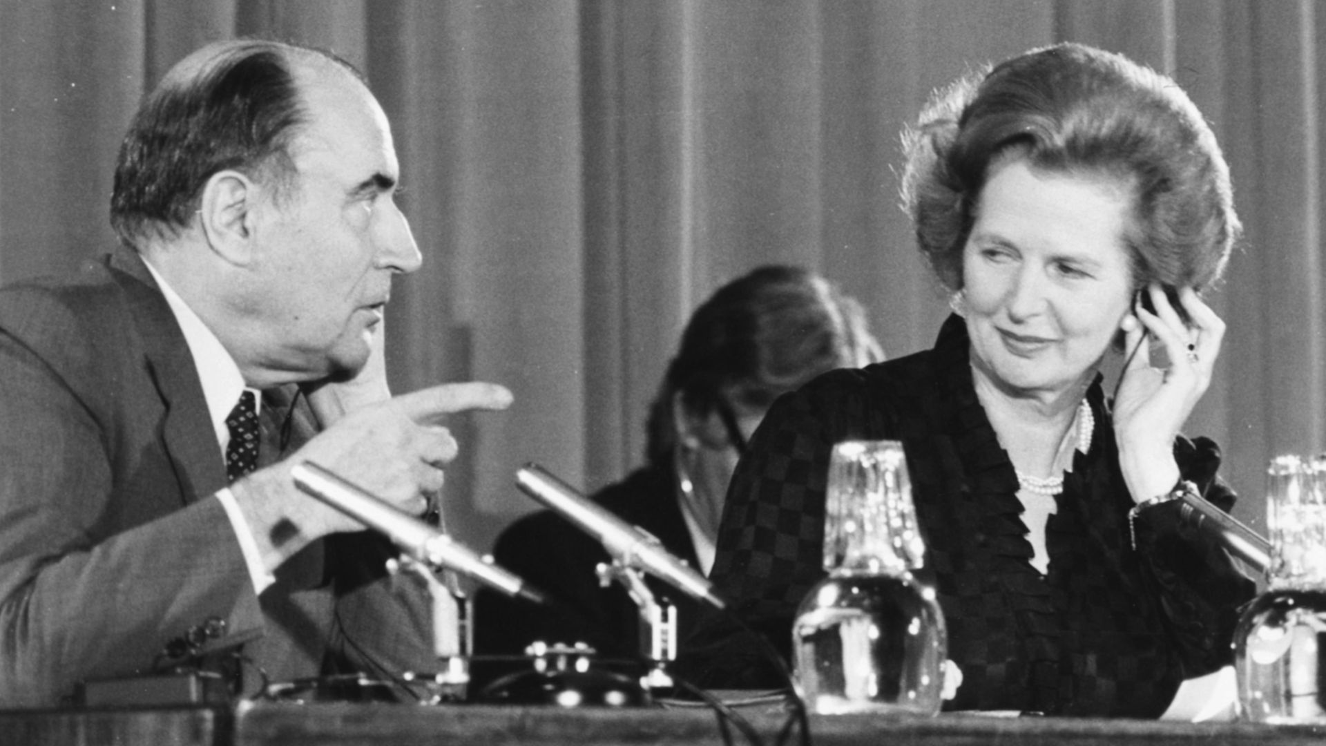 Margaret Thatcher and François Mitterrand at a press conference to talk about their countries' relationship, in September 1981 - Credit: Getty Images