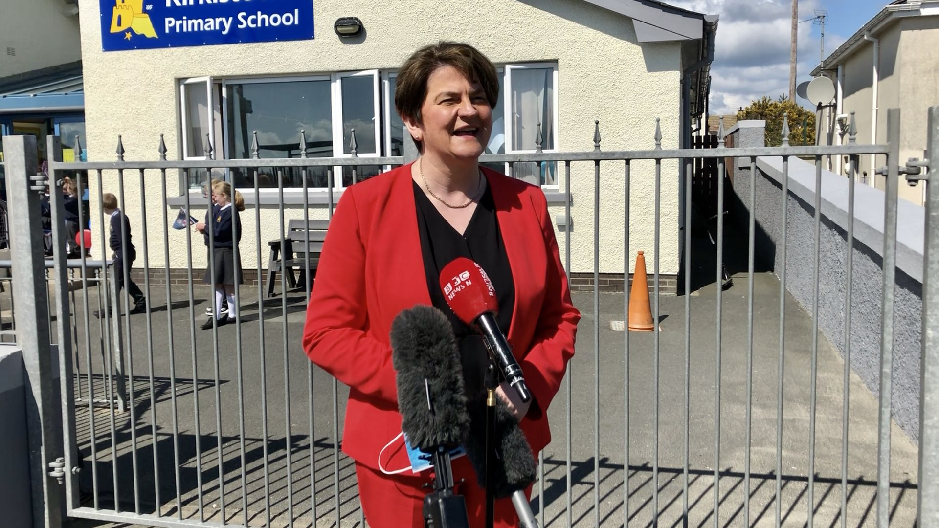 Arlene Foster during a visit to Kirkistown primary school in Co Down, Northern Ireland - Credit: PA
