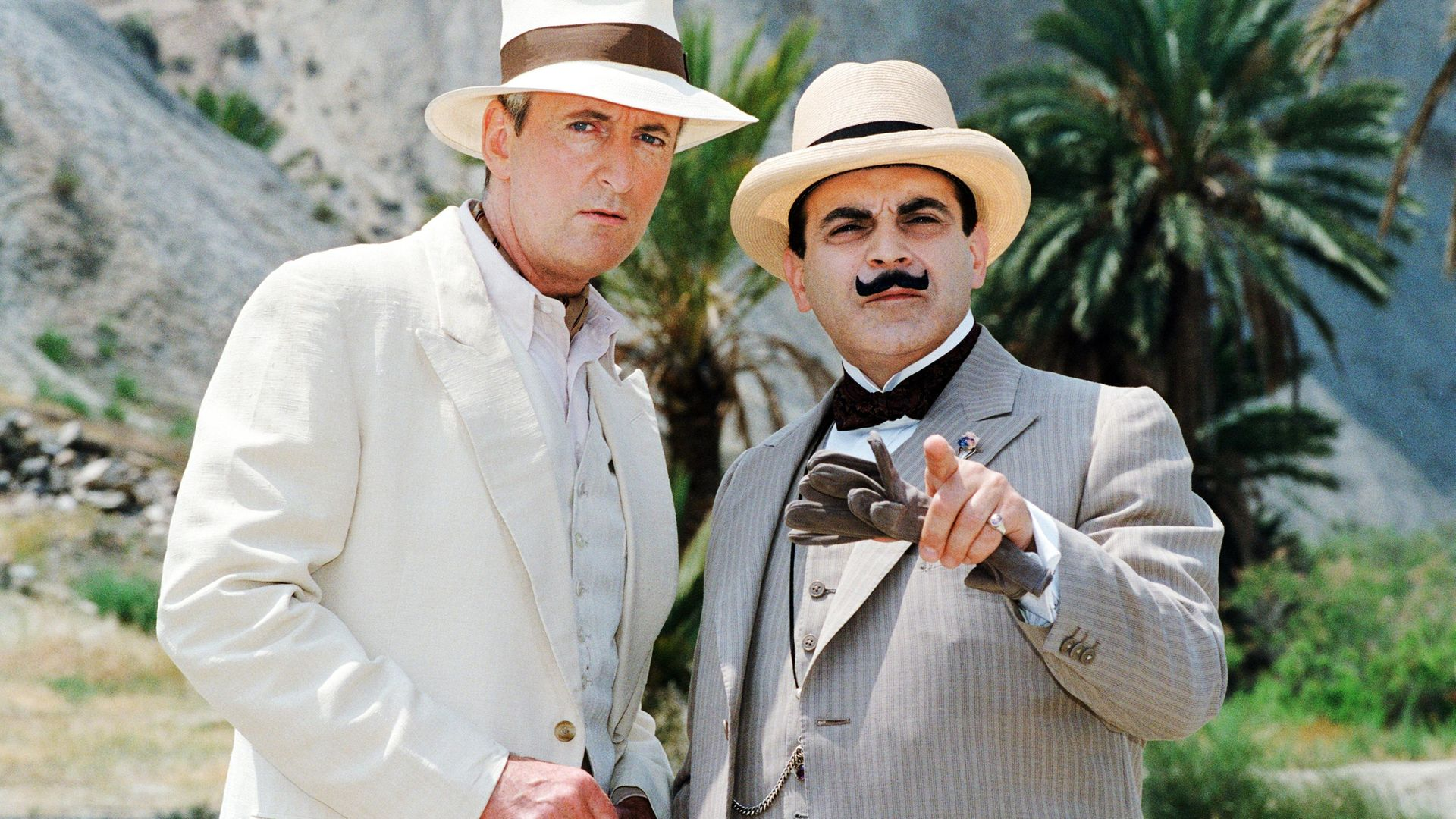 David Suchet at Hercule Poirot and Hugh Fraser as Captain Hastings, 1992 - Credit: Photo by Daily Mirror/Mirrorpix/Mirrorpix via Getty Images