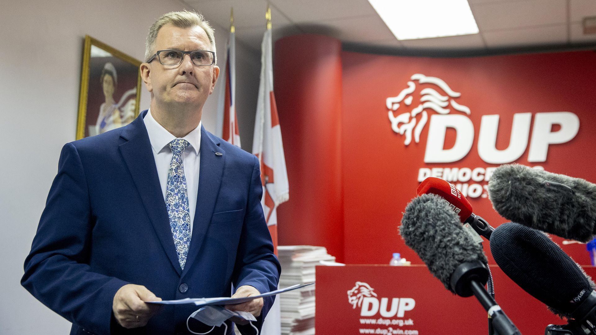 DUP MP for Lagan Valley Sir Jeffrey Donaldson, launches his campaign to become leader of the DUP at the constituency office of DUP MP Gavin Robinson in east Belfast - Credit: PA