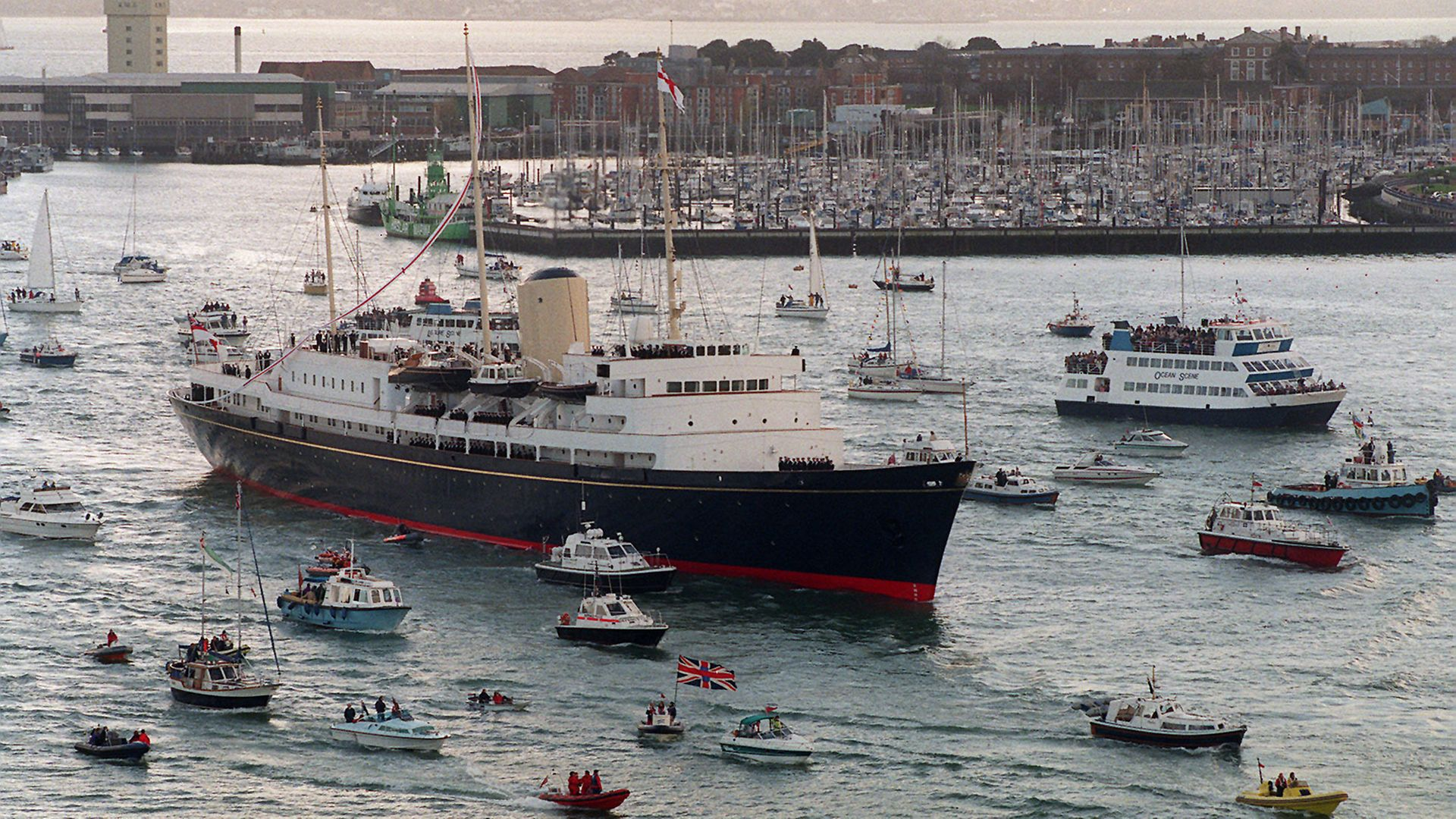 The Royal Yacht Britannia sails into Portsmouth for the last time before she is decommissioned in 1997 - Credit: PA