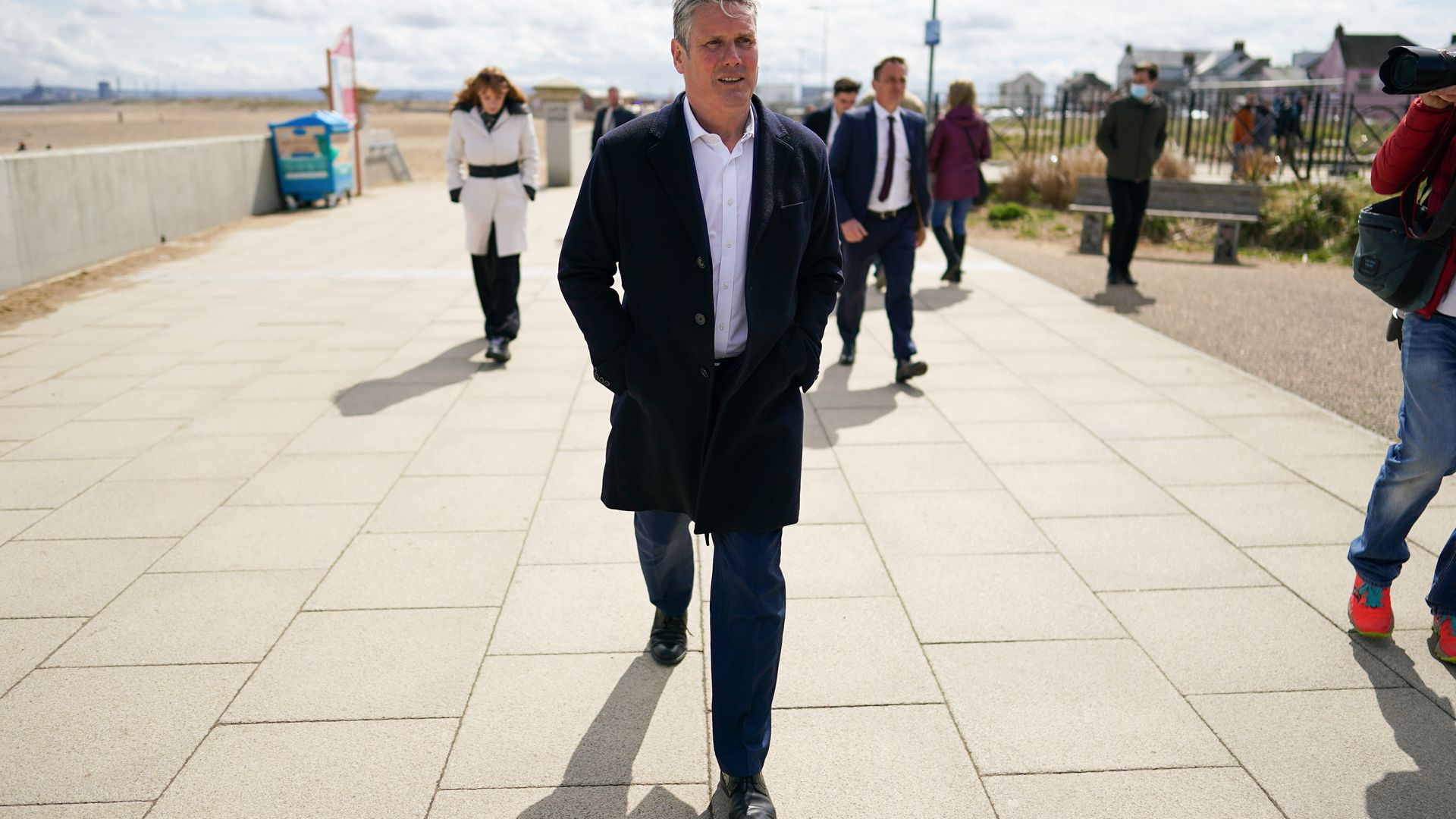 Labour leader Keir Starmer on a walkabout as they visit Seaton Carew seafront while on the election campaign trail - Credit: PA