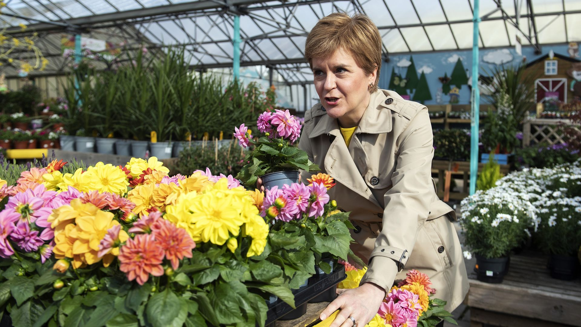 Scotland's first minister and leader of the Scottish National Party (SNP), Nicola Sturgeon during a visit to Rouken Glen Garden Centre in Giffnock, while campaigning for the Scottish parliamentary election - Credit: PA