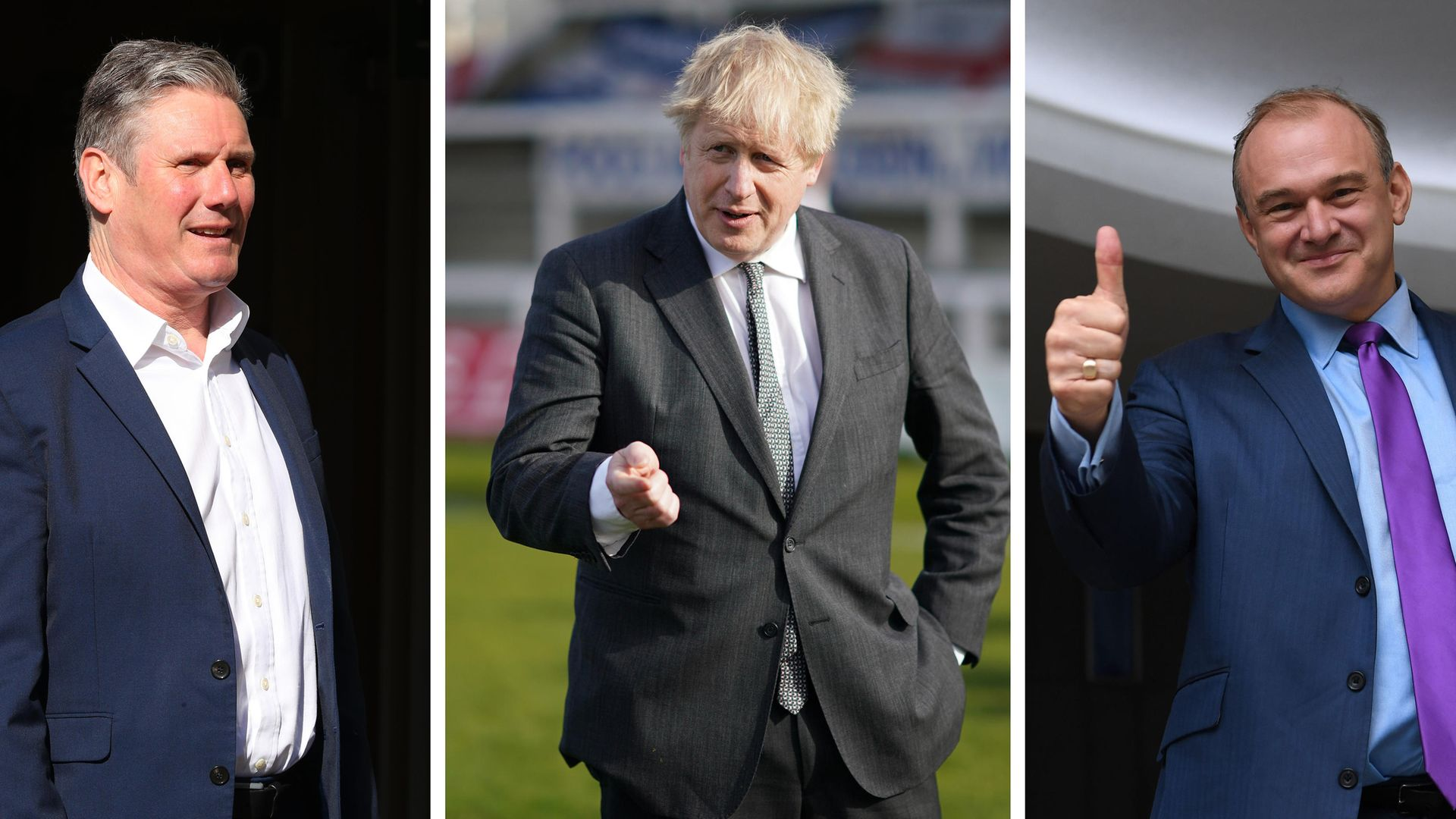 Labour leader Sir Keir Starmer, Prime Minister and Conservative leader Boris Johnson and Liberal Democrat leader Sir Ed Davey. Local elections are taking place across England, as well as parliamentary elections in Scotland and Wales, on Thursday - Credit: PA