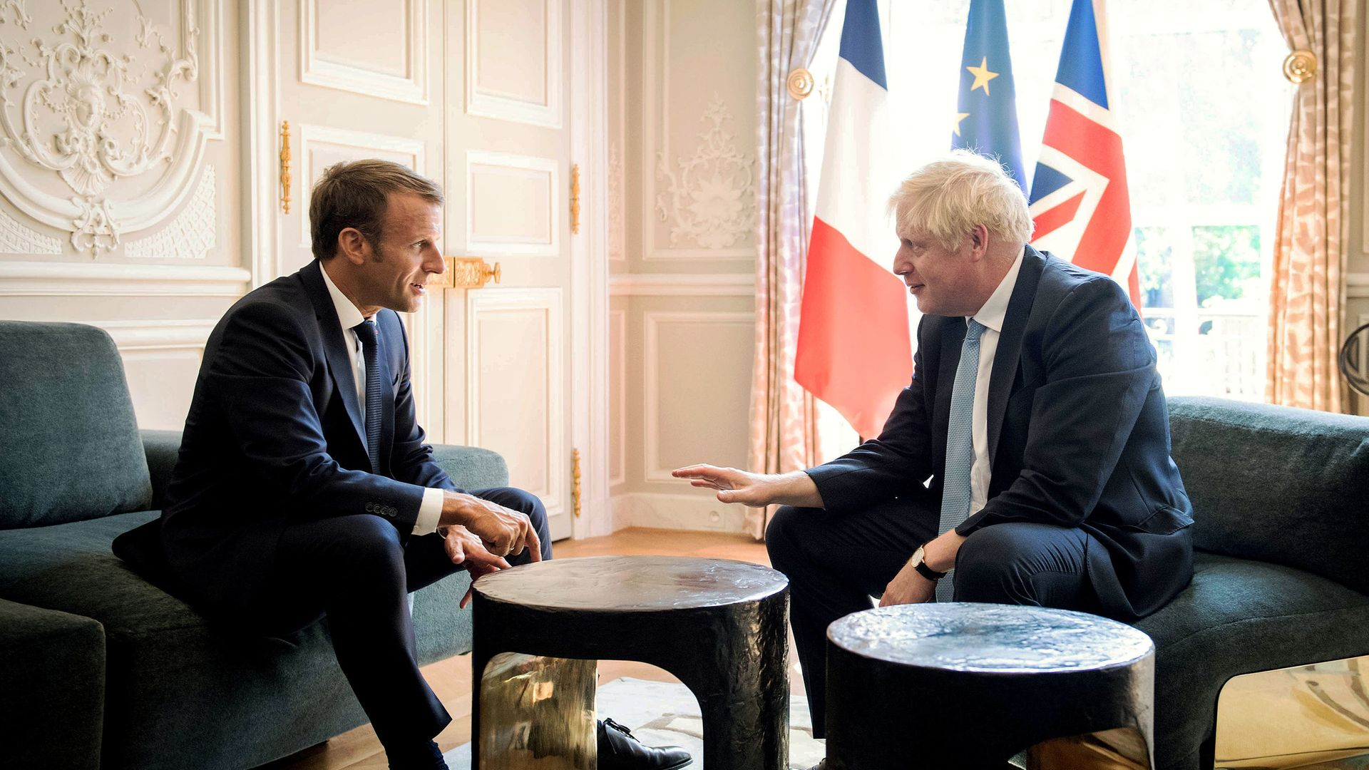 Prime minister Boris Johnson meeting French President Emmanuel Macron at the Elysee Palace in Paris ahead of talks to try to break the Brexit deadlock last year - Credit: PA