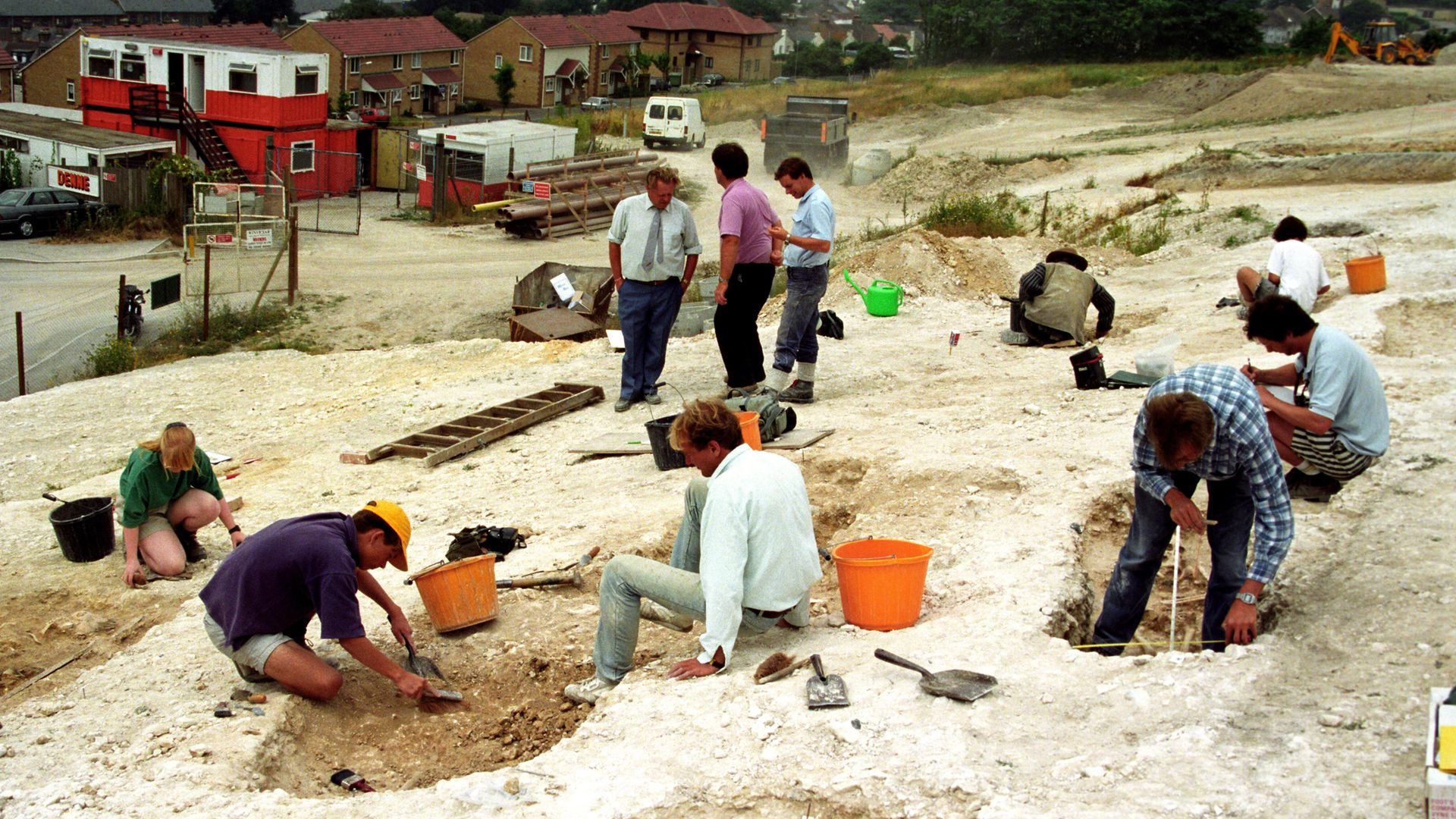 Archaeologists dig over the site of an Anglo-Saxon cemetery near Dover - Credit: PA