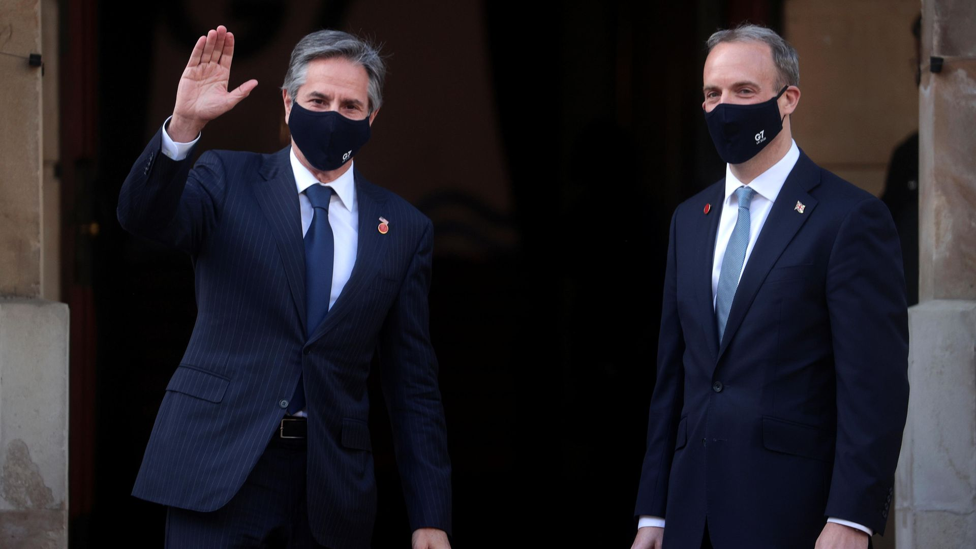 Foreign secretary Dominic Raab (right) welcomes US secretary of state, Antony Blinken (left), arriving at Lancaster House, London, during the G7 foreign and development ministers meeting - Credit: PA
