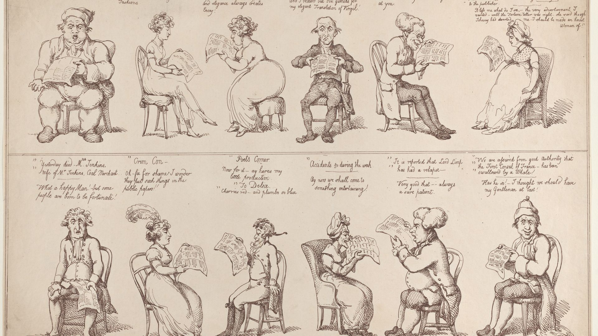The News Paper, by Thomas Rowlandson, from 1808 - Credit: The Elisha Whittelsey Collection, The Elisha Whittelsey Fund, 1959