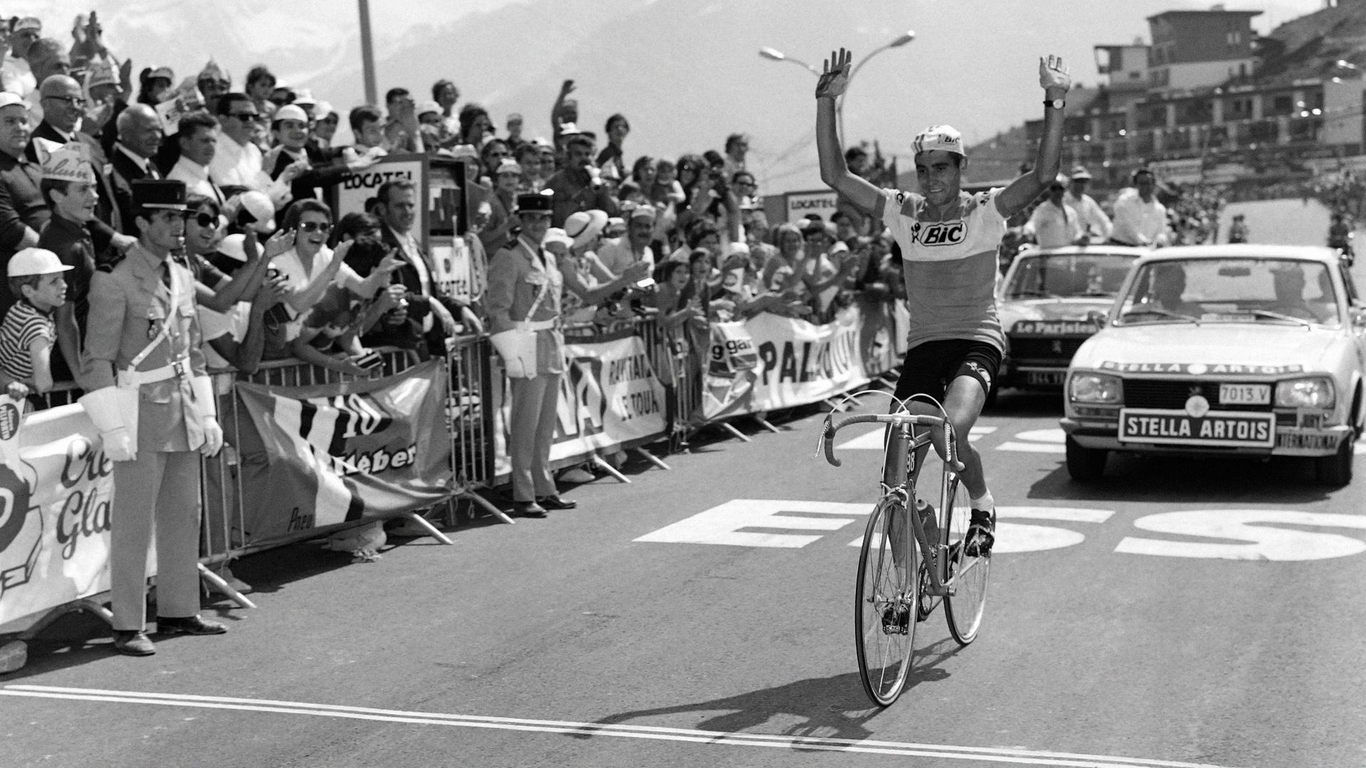 Spain's Luis Ocana crosses the finish line during the 11th stage of the Tour de France cycling race between Grenoble and Orcieres-Merlette in 1971 - Credit: AFP via Getty Images