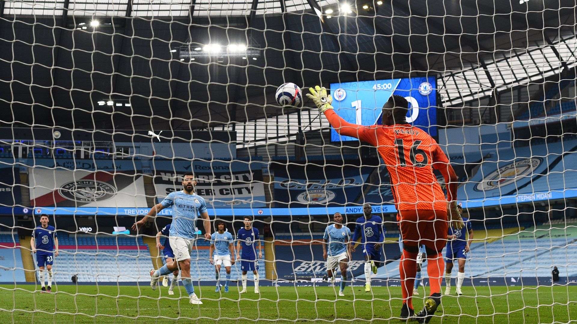 Edouard Mendy of Chelsea saves a penalty taken by Sergio Aguero of Manchester City during a Premier League match - Credit: Getty Images