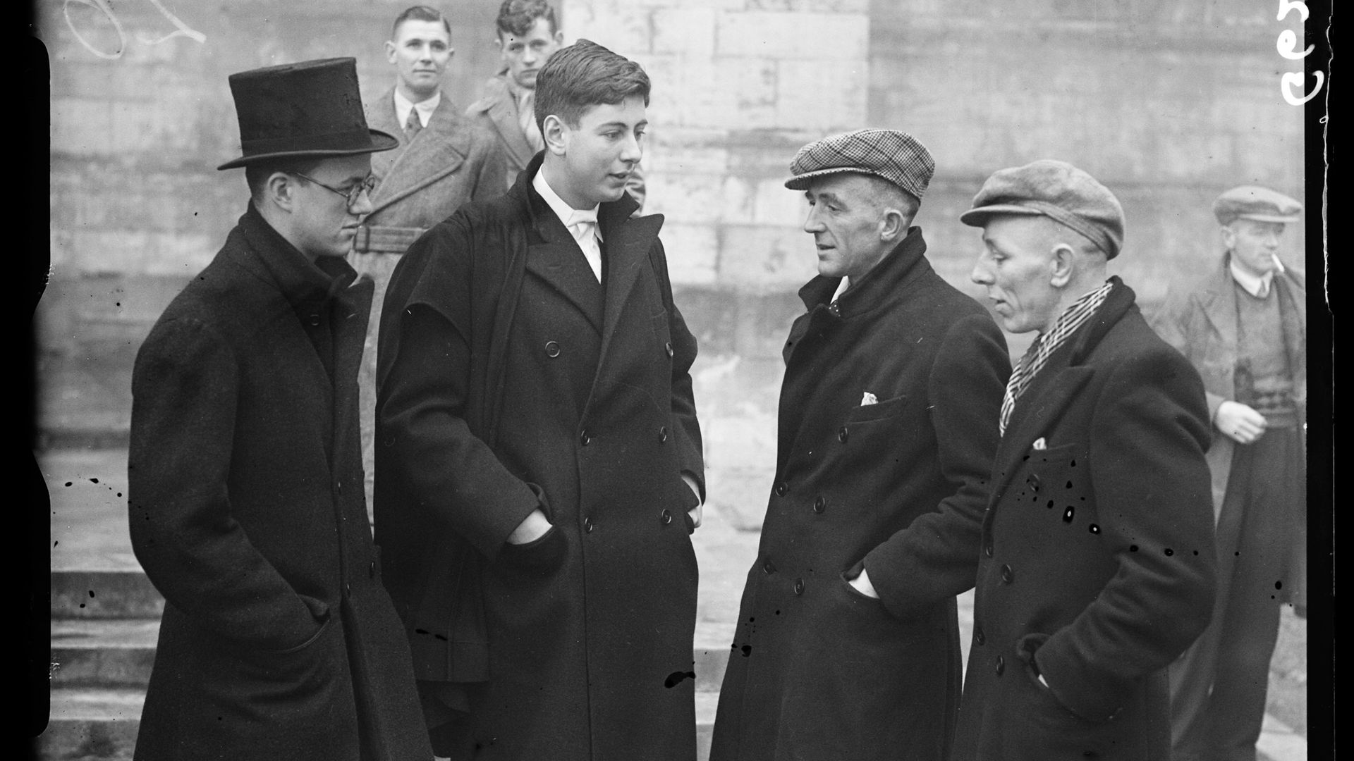 Durham miners meet Eton pupils in 1938, ahead of the second game between the two sides - Credit: SSPL via Getty Images