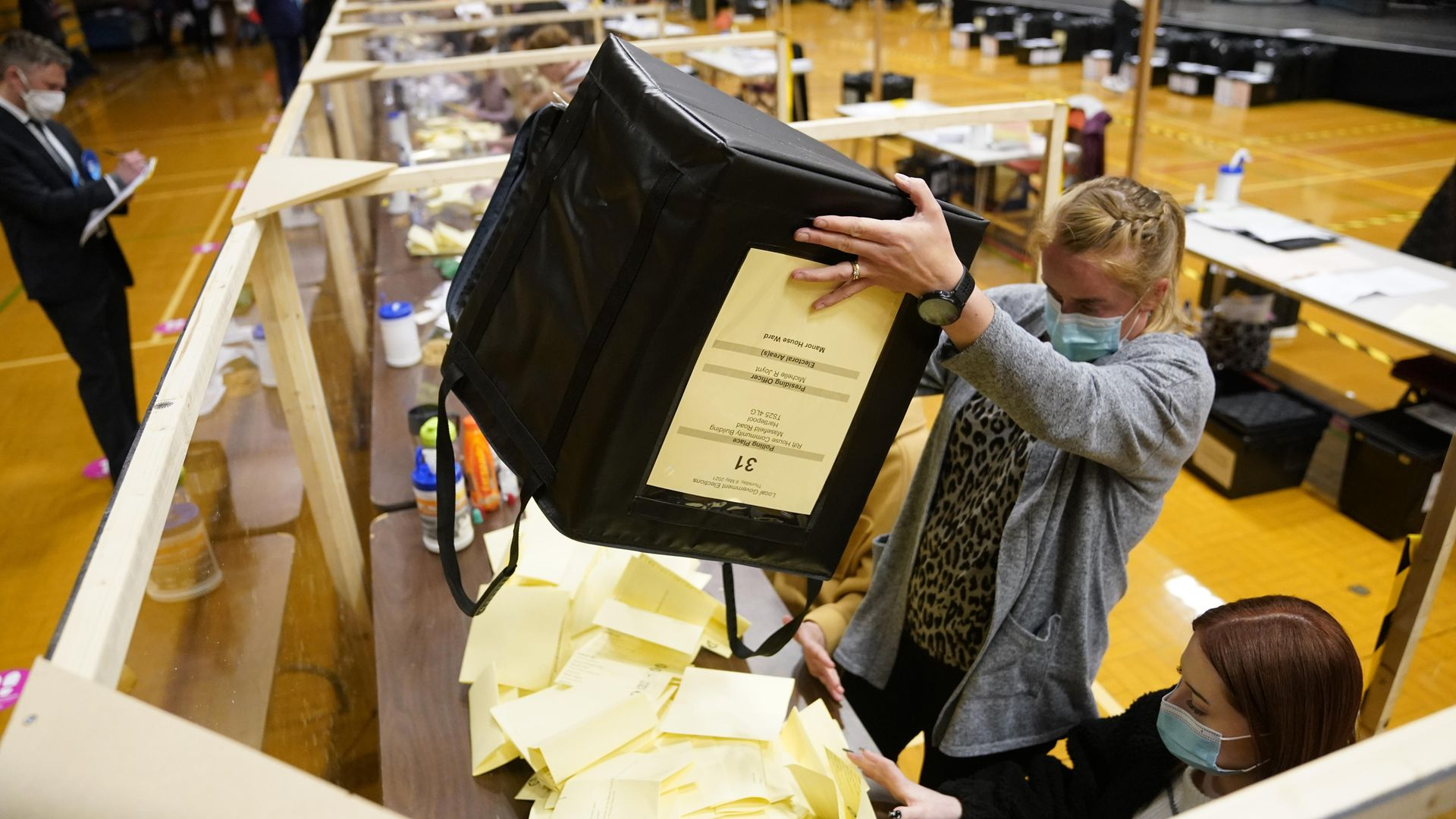 Ballot boxes are emptied at Mill House Leisure Centre in Hartlepool, for the counting of votes for the local and mayoral election and for the Hartlepool parliamentary by-election - Credit: PA