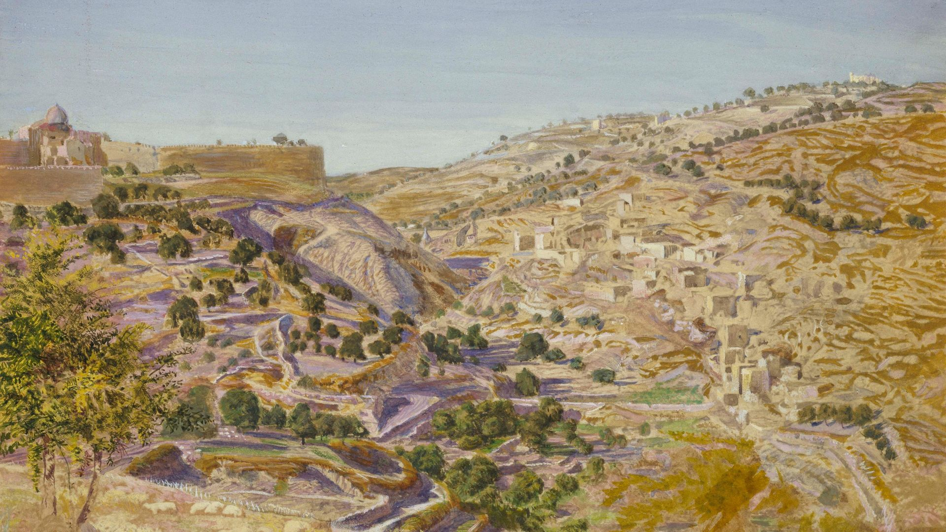 Thomas Seddon Jerusalem and the Valley of Jehoshaphat from the Hill of Evil Counsel - Credit: Ashmolean Museum, University of Oxford