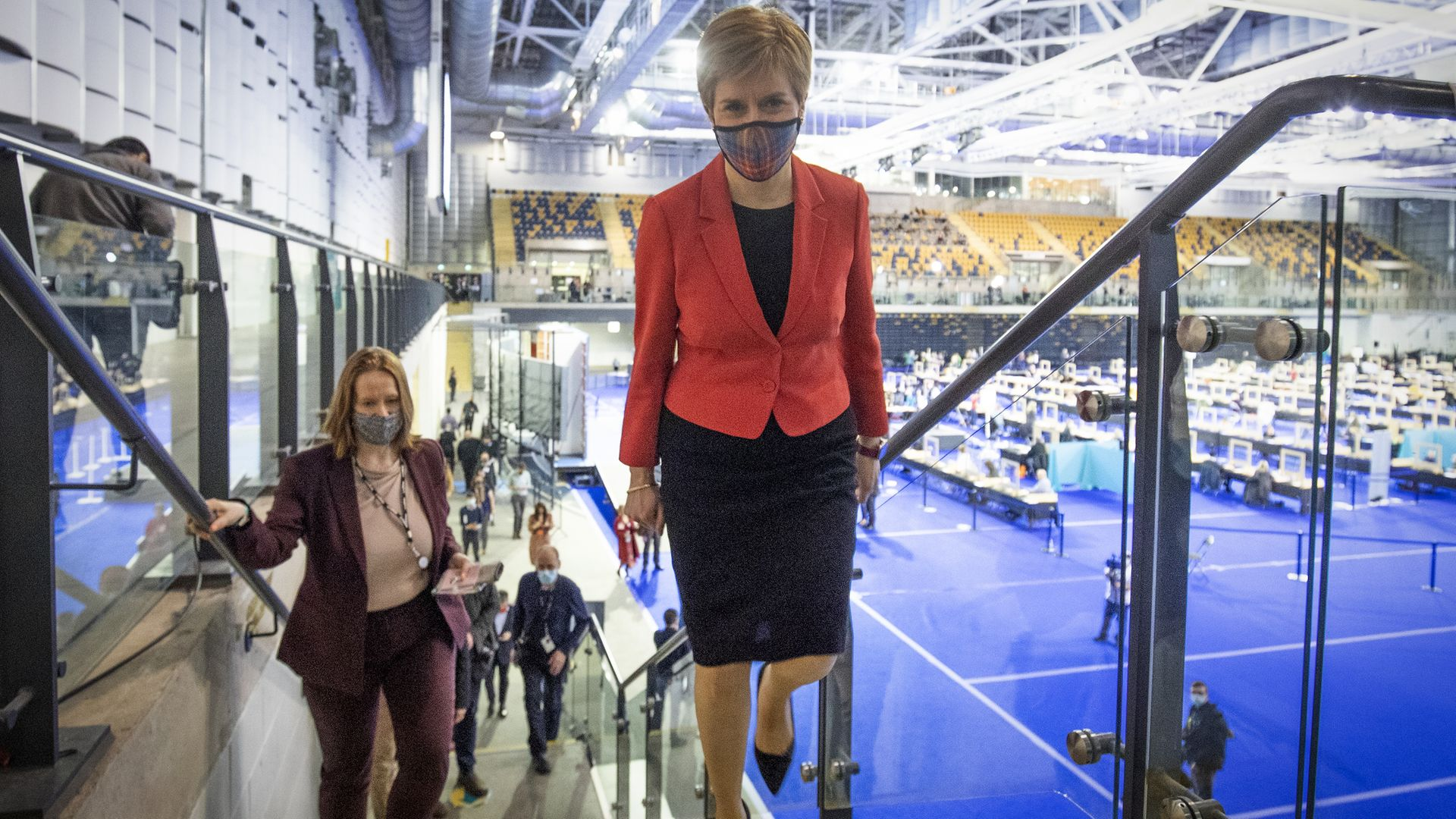First minister and SNP party leader Nicola Sturgeon arrives at the count for the Scottish parliamentary elections at the Emirates Arena, Glasgow - Credit: PA