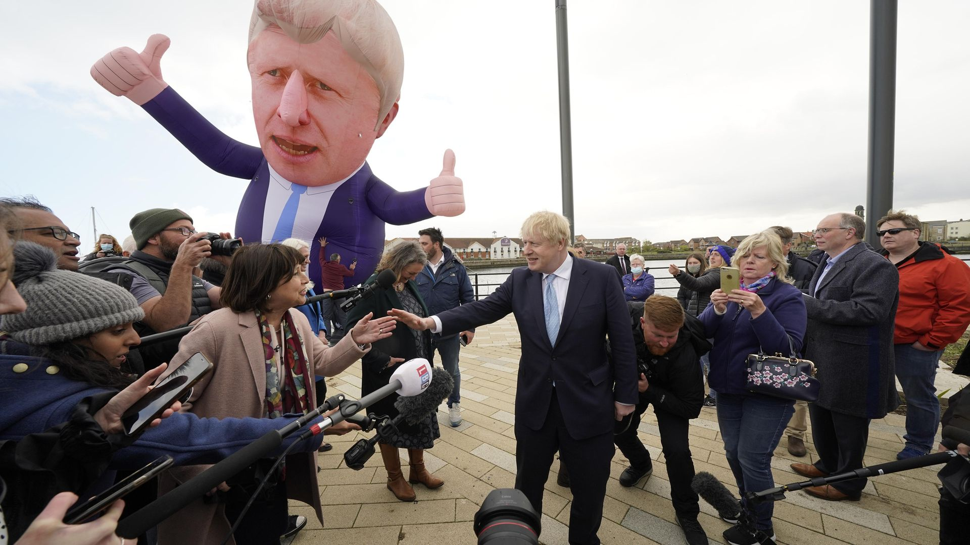 Prime Minister Boris Johnson at Jacksons Wharf in Hartlepool, County Durham, following MP Jill Mortimer's victory in the Hartlepool parliamentary by-election - Credit: PA
