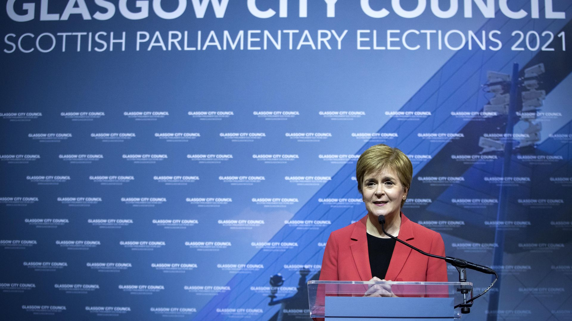 First Minister and SNP party leader Nicola Sturgeon delivers her speech on stage after retaining her seat for Glasgow Southside at the count for the Scottish Parliamentary Elections - Credit: PA
