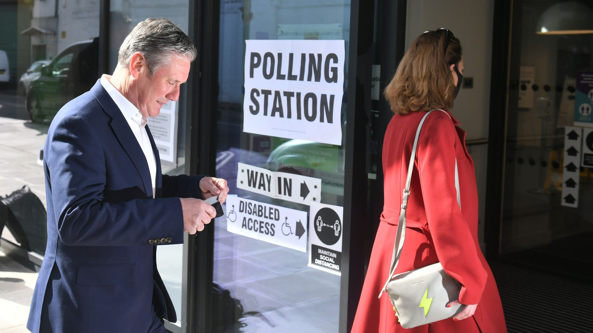 Labour leader Sir Keir Starmer and his wife Victoria arrive to cast their vote - Credit: PA