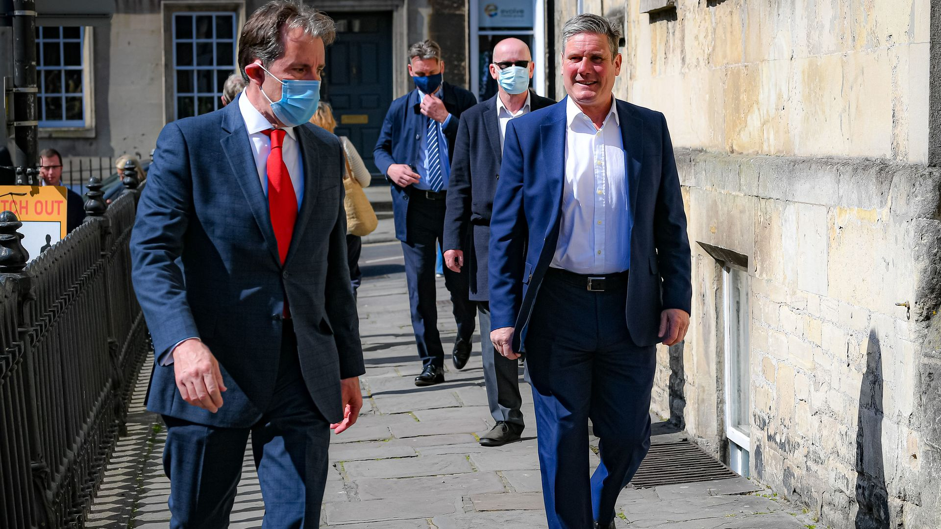 Labour leader Sir Keir Starmer, with Dan Norris, left, during a visit to Bath, to support West of England metro mayoral candidate Dan Norris - Credit: PA