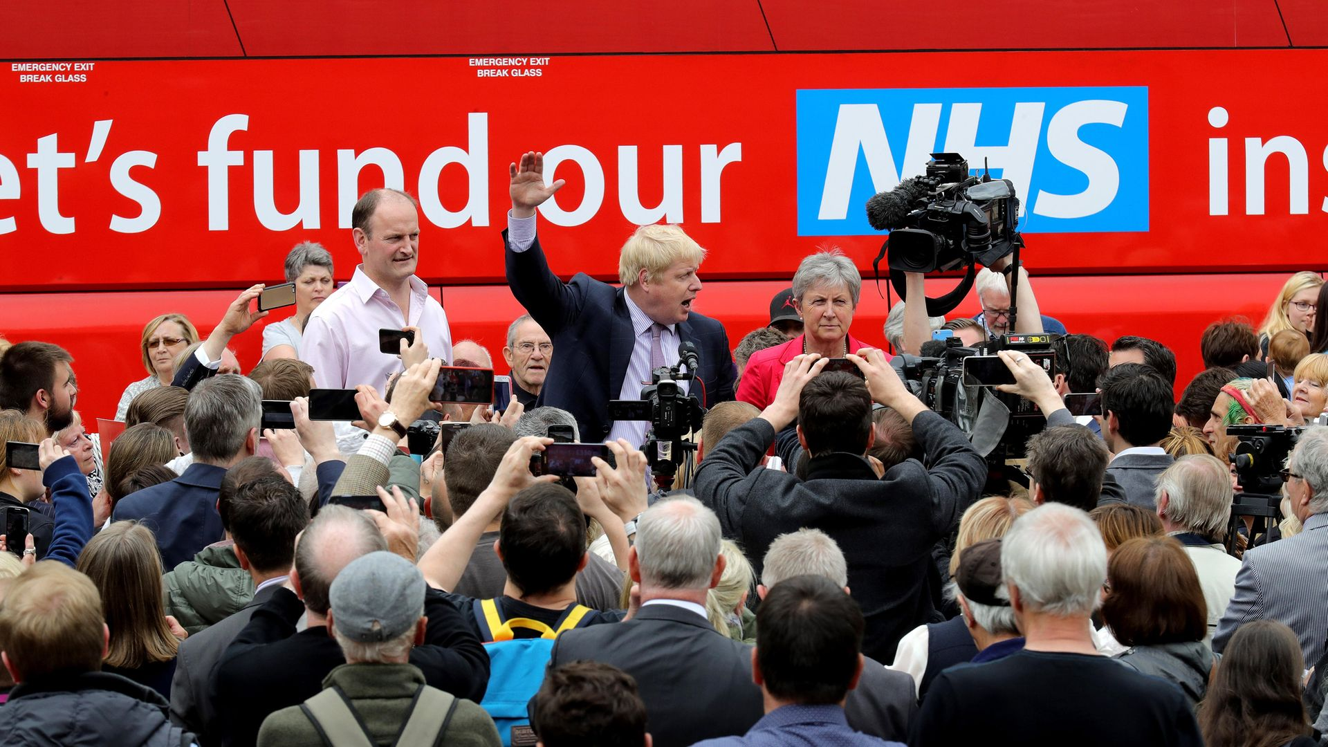 Boris Johnson, Gisela Stuart and Douglas Carswell address the people of Stafford in Market Square during the Vote Leave, Brexit Battle Bus tour on May 2016 - Credit: Getty Images