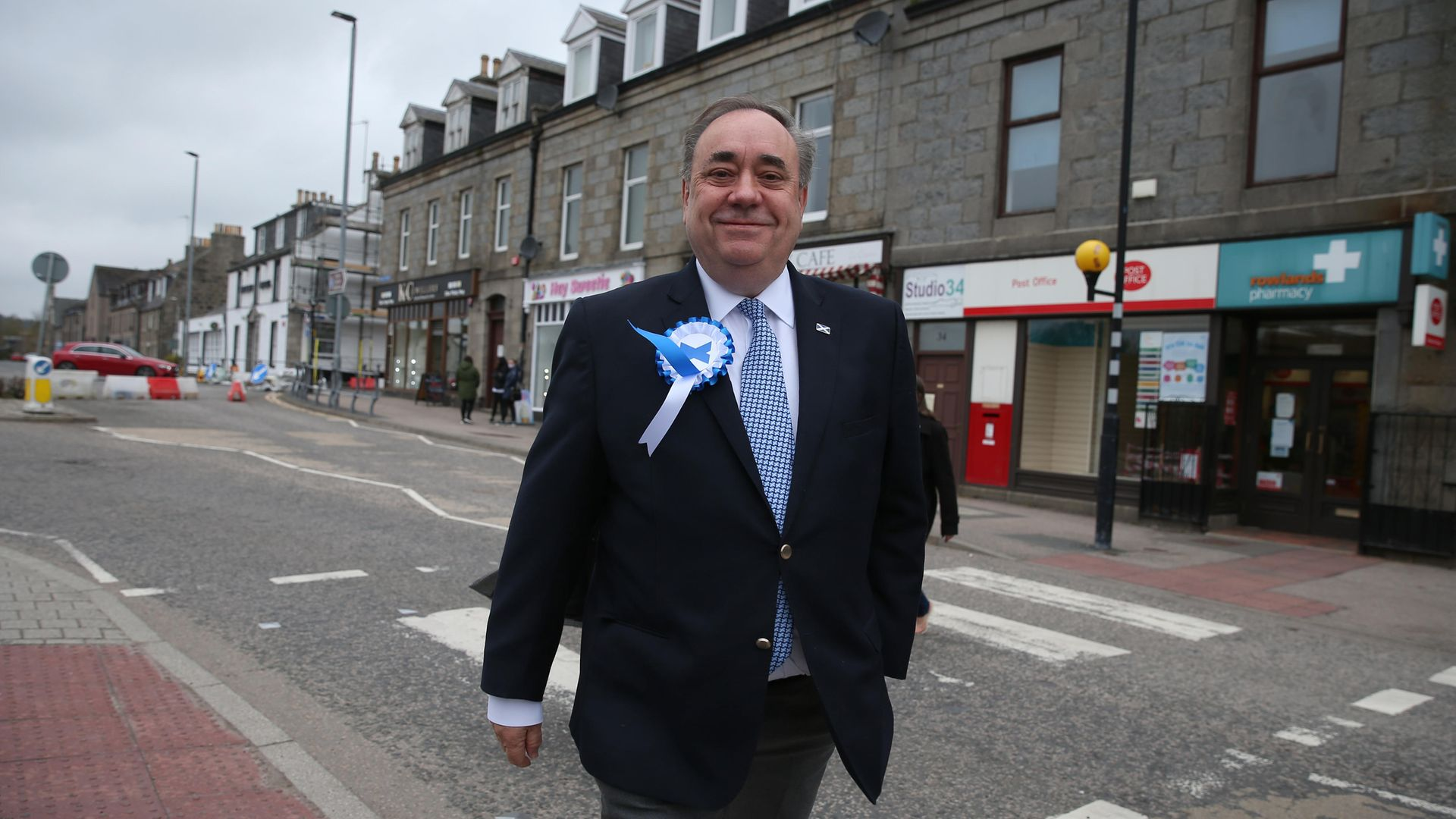 ALBA party leader Alex Salmond in Ellon as votes continue to be counted for the Scottish Parliamentary Elections - Credit: PA