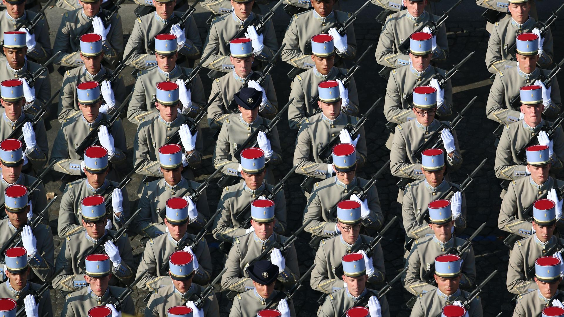 Soldiers of 2nd Regiment de Dragons during the annual Bastille Day military parade on the Champs-Elysees - Credit: AFP via Getty Images