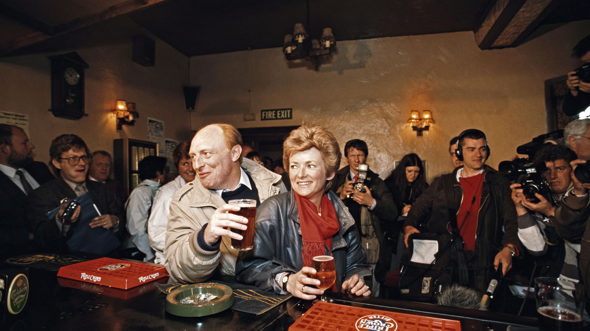 Neil Kinnock, then leader of the Labour Party, and his wife Glenys stop for drinks in a pub in Pontllanfraith, Caerphilly, during the 1987 general election campaign - Credit: Getty Images