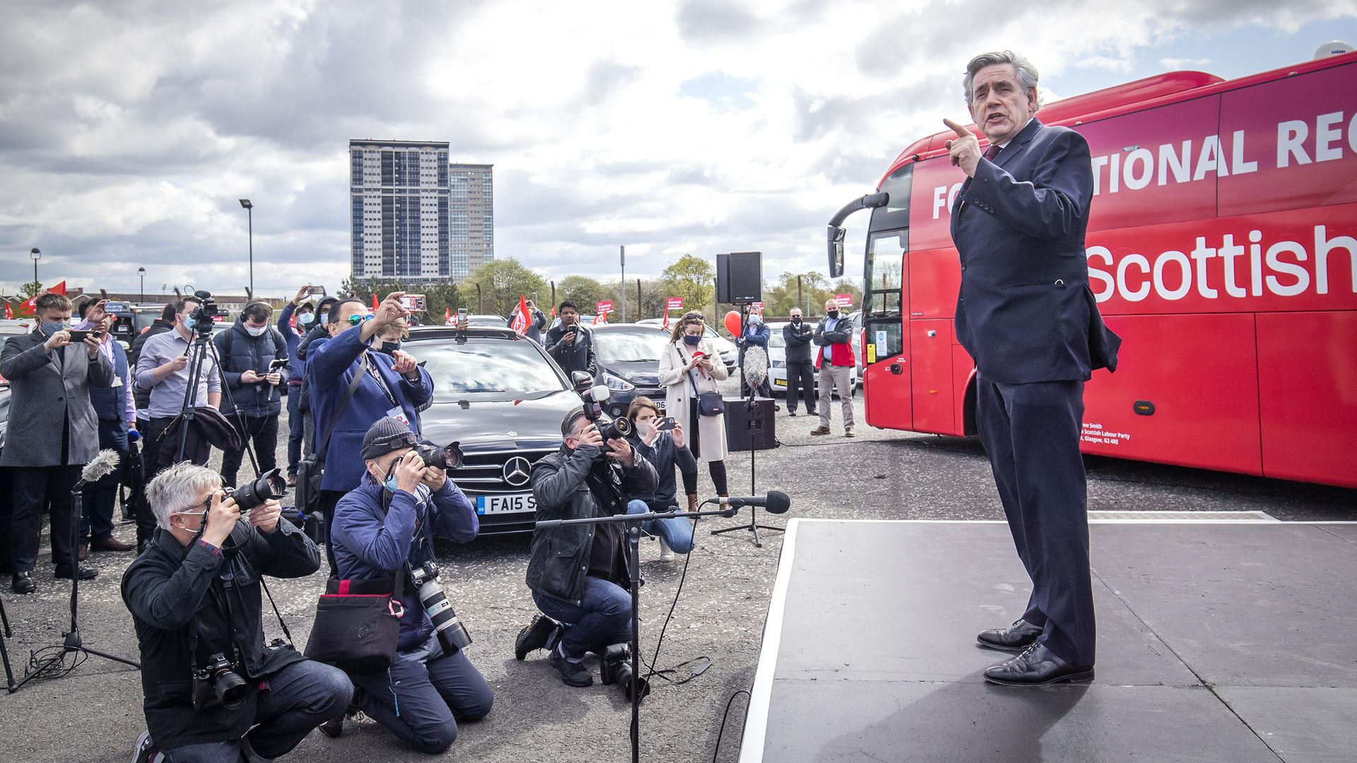 Former prime minister Gordon Brown speaks at a Scottish Labour drive-in rally in Glasgow during campaigning for the Scottish Parliamentary election. Picture date: Wednesday May 5, 2021. - Credit: PA