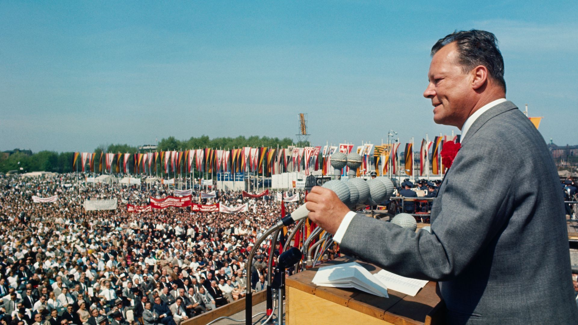 Willy Brandt, leader of West German Social Democrats, addresses a huge crowd of West Berliners in front of the Reichstag on May Day, 1966; he 1969 he became the party's first chancellor since the war. Only two others have followed - Credit: Corbis via Getty Images